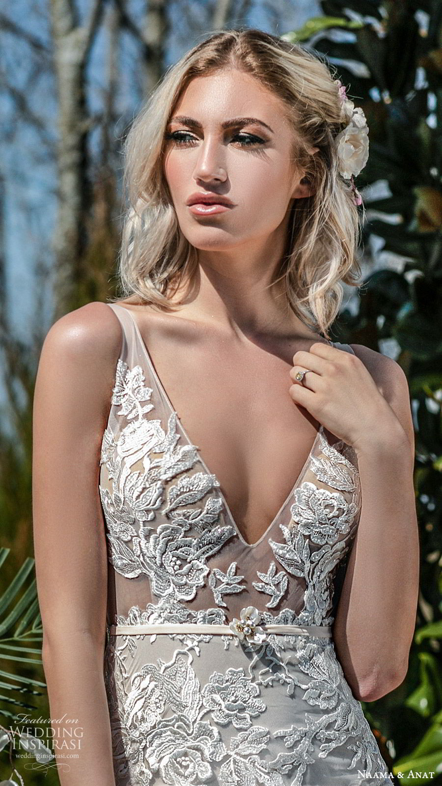naama anat spring 2020 bridal sleeveless sheer straps deep v neckline illusion bodice fully embellished lace a line ball gown wedding dress (5) low back chapel train princess romantic zv
