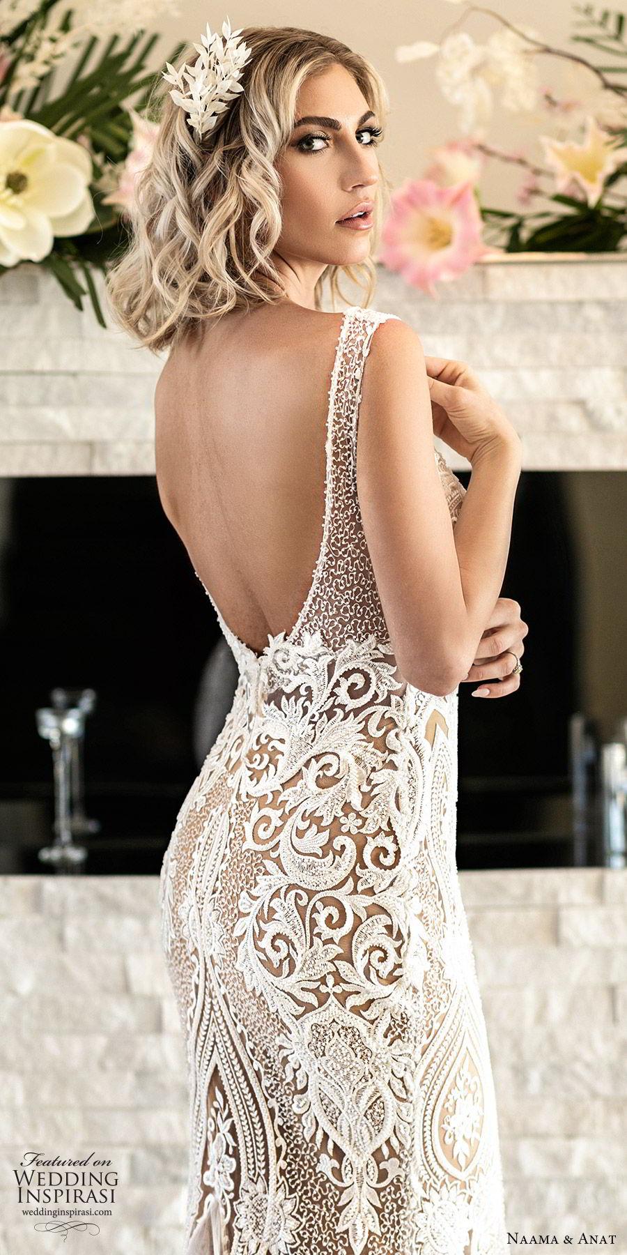 naama anat spring 2020 bridal sleeveless split sweetheart neckline lace sheath mermaid wedding dress (1) elegant modern low back chapel train zbv