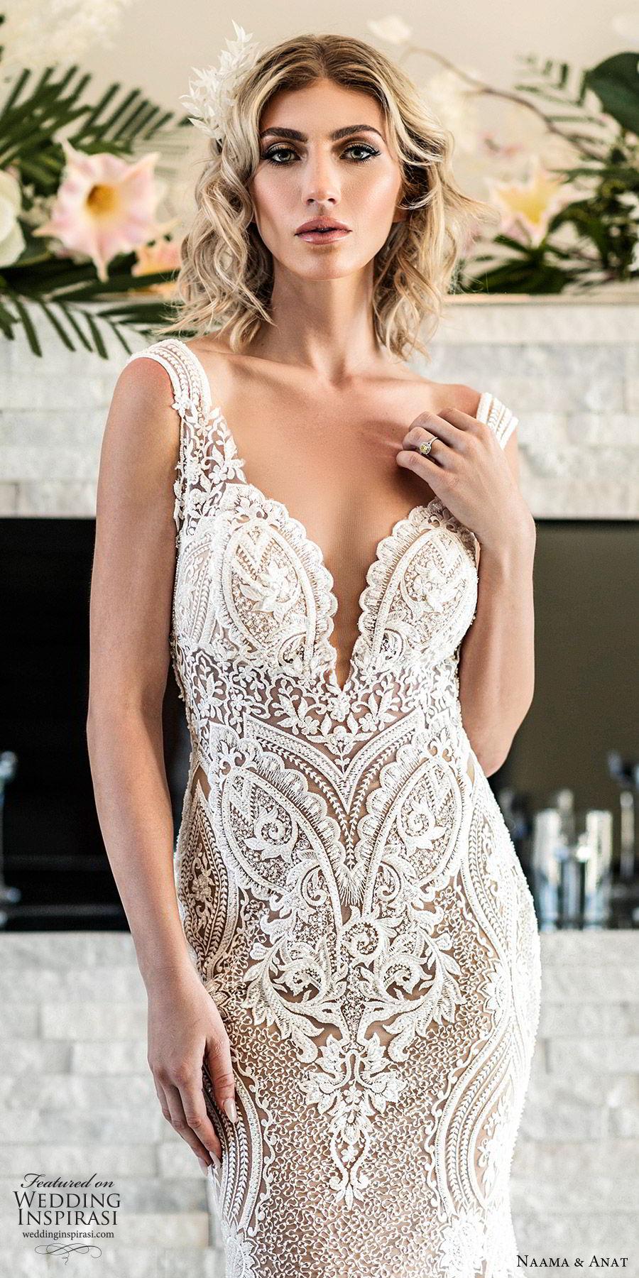 naama anat spring 2020 bridal sleeveless split sweetheart neckline lace sheath mermaid wedding dress (1) elegant modern low back chapel train zv