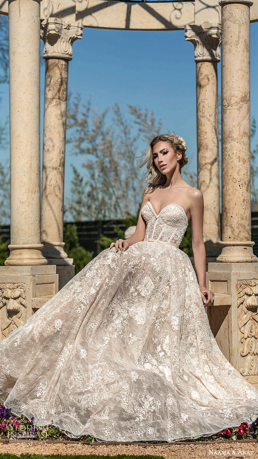 naama anat spring 2020 bridal strapless sweetheart fully embellished a line ball gown wedding dress (3) sweep train romantic elegant fv