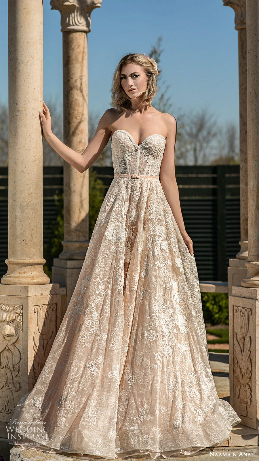 naama anat spring 2020 bridal strapless sweetheart fully embellished a line ball gown wedding dress (3) sweep train romantic elegant mv