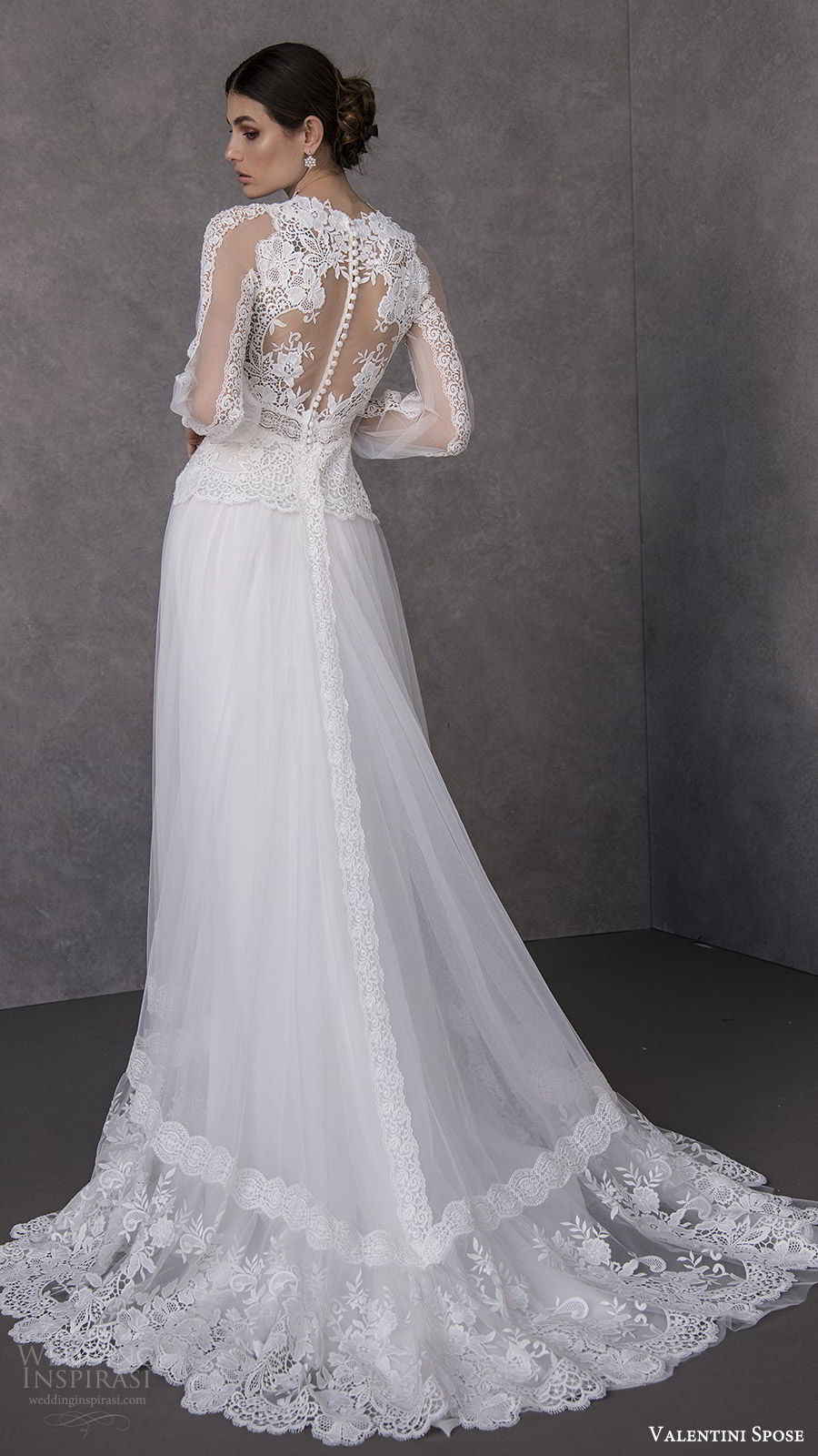 valentini spose spring 2020 bridal illusion bishop sleeves high neck lace bodice soft a line wedding dress (15) romantic boho chic bv