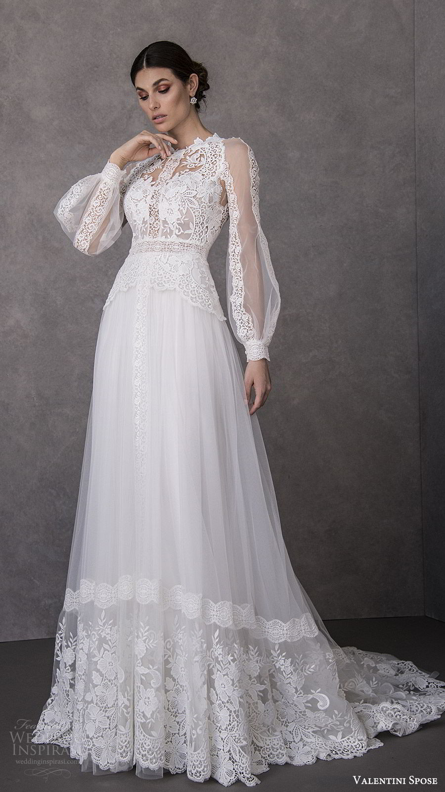 valentini spose spring 2020 bridal illusion bishop sleeves high neck lace bodice soft a line wedding dress (15) romantic boho chic mv