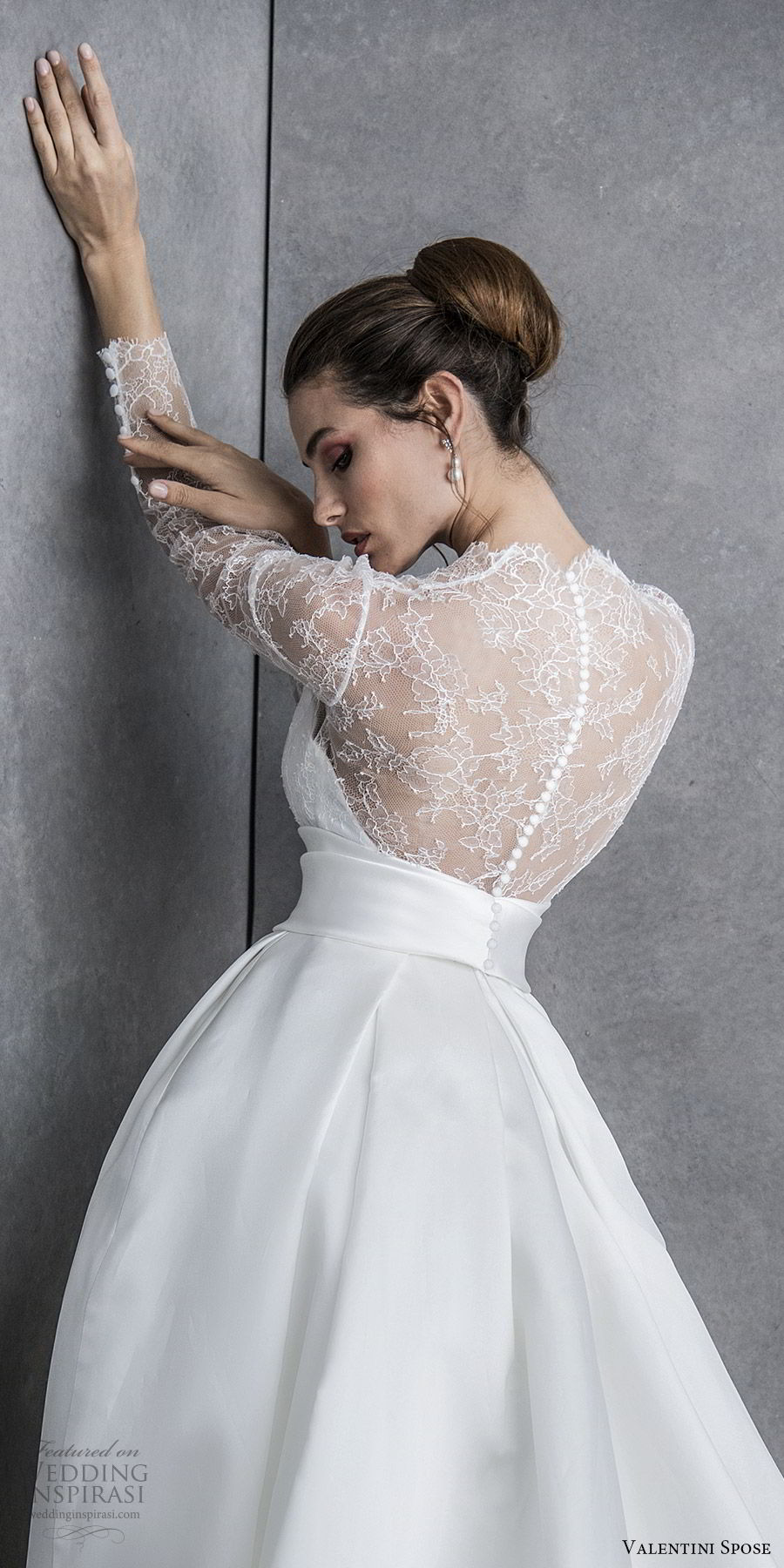 valentini spose spring 2020 bridal illusion long sleeves sweetheart neckline lace bodice a line ball gown wedding dress (18) elegant princess romantic bv