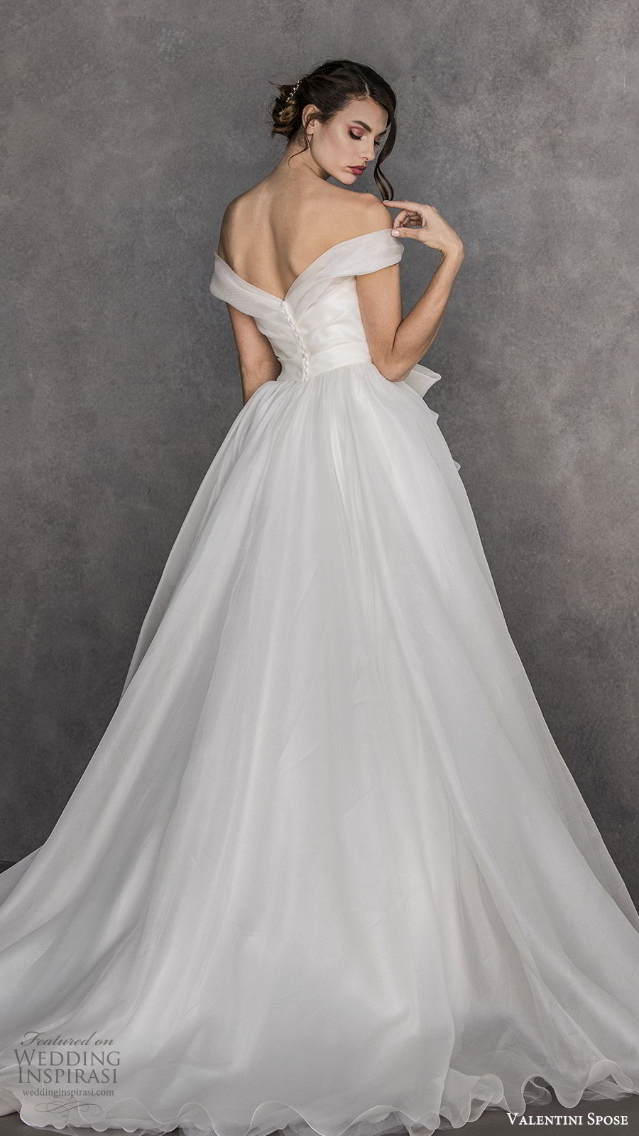valentini spose spring 2020 bridal off shoulder a line ball gown wedding dress (3) bow waist chapel train ivory romantic princess bv
