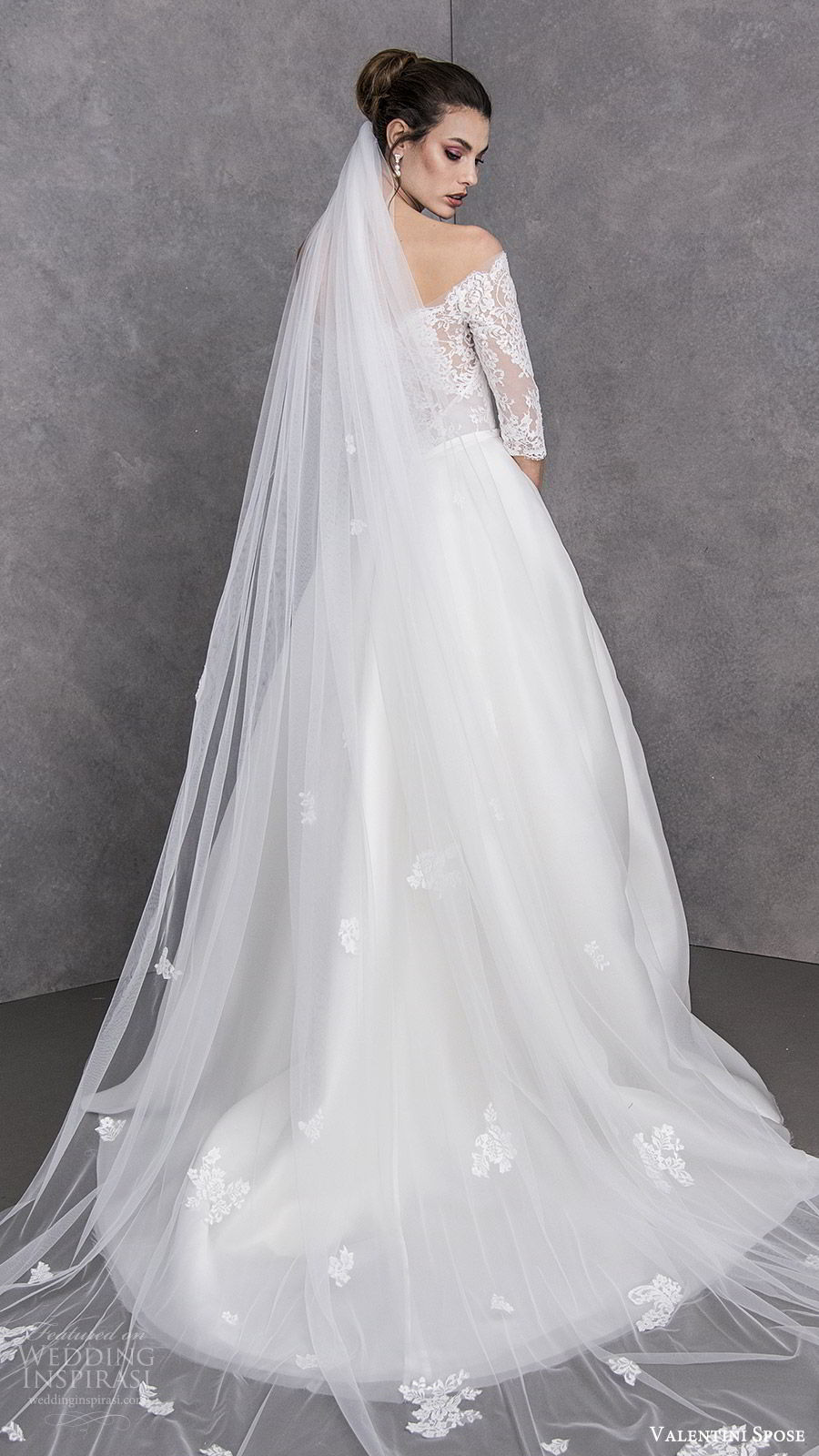 valentini spose spring 2020 bridal off shoulder illusion 3 quarter sleees lace bodice a line ball gown wedding dress (22) elegant princess romantic chapel train bv