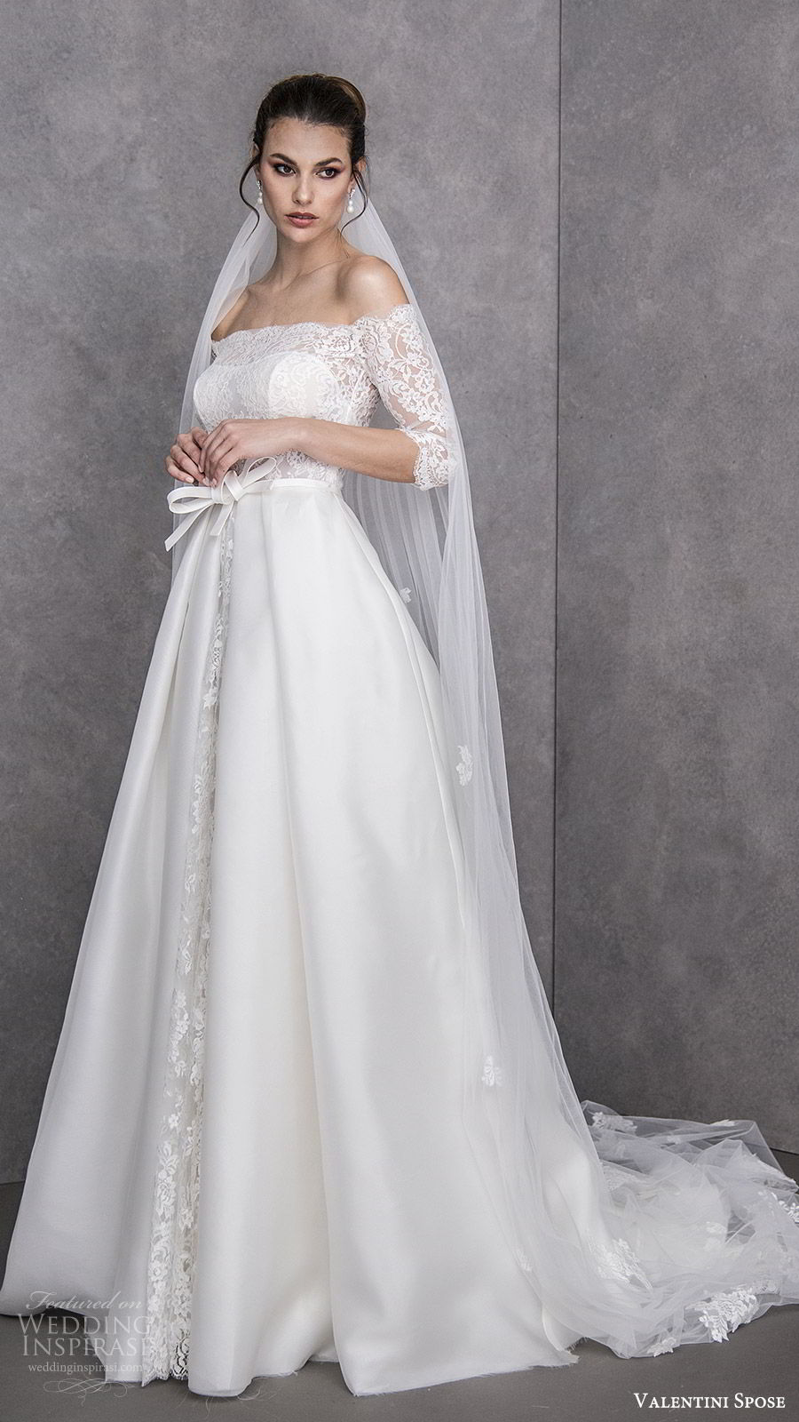 valentini spose spring 2020 bridal off shoulder illusion 3 quarter sleees lace bodice a line ball gown wedding dress (22) elegant princess romantic chapel train mv