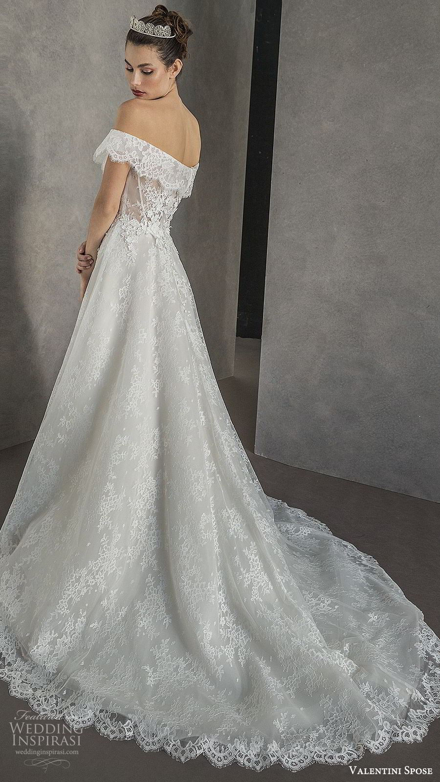 valentini spose spring 2020 bridal off shoulder split sweetheart neckline fully embellished lace a line ball gown wedding dress (7) chapel train romantic princess bv