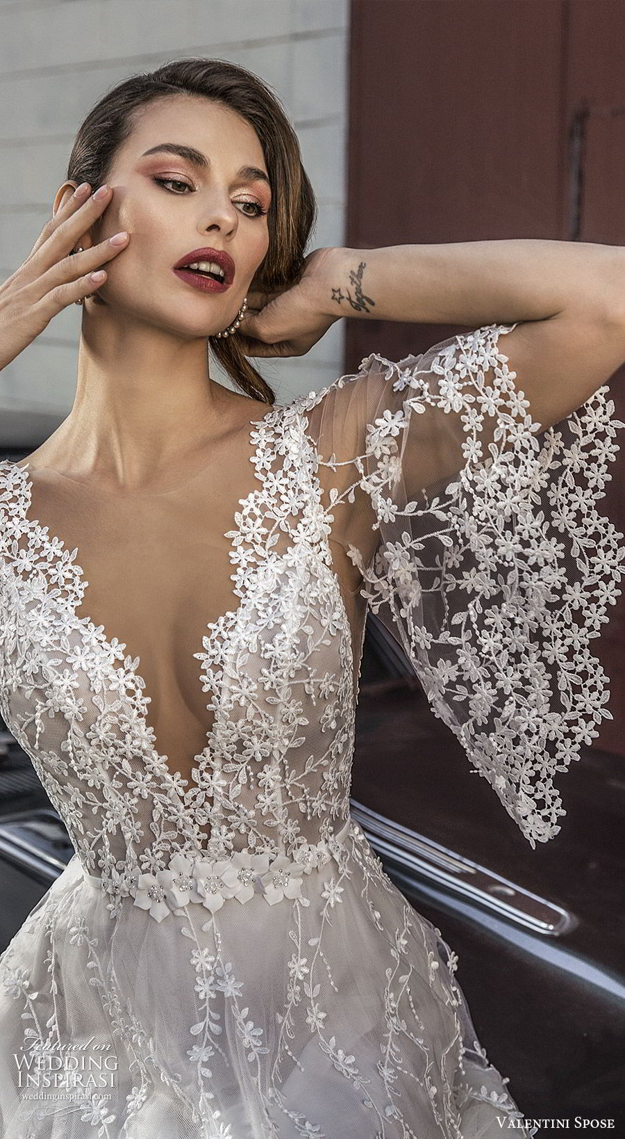 valentini spose spring 2020 bridal sheer flutter sleeves v neck fully embroidered lace a line ball gown wedding dress (1) romantic boho lv