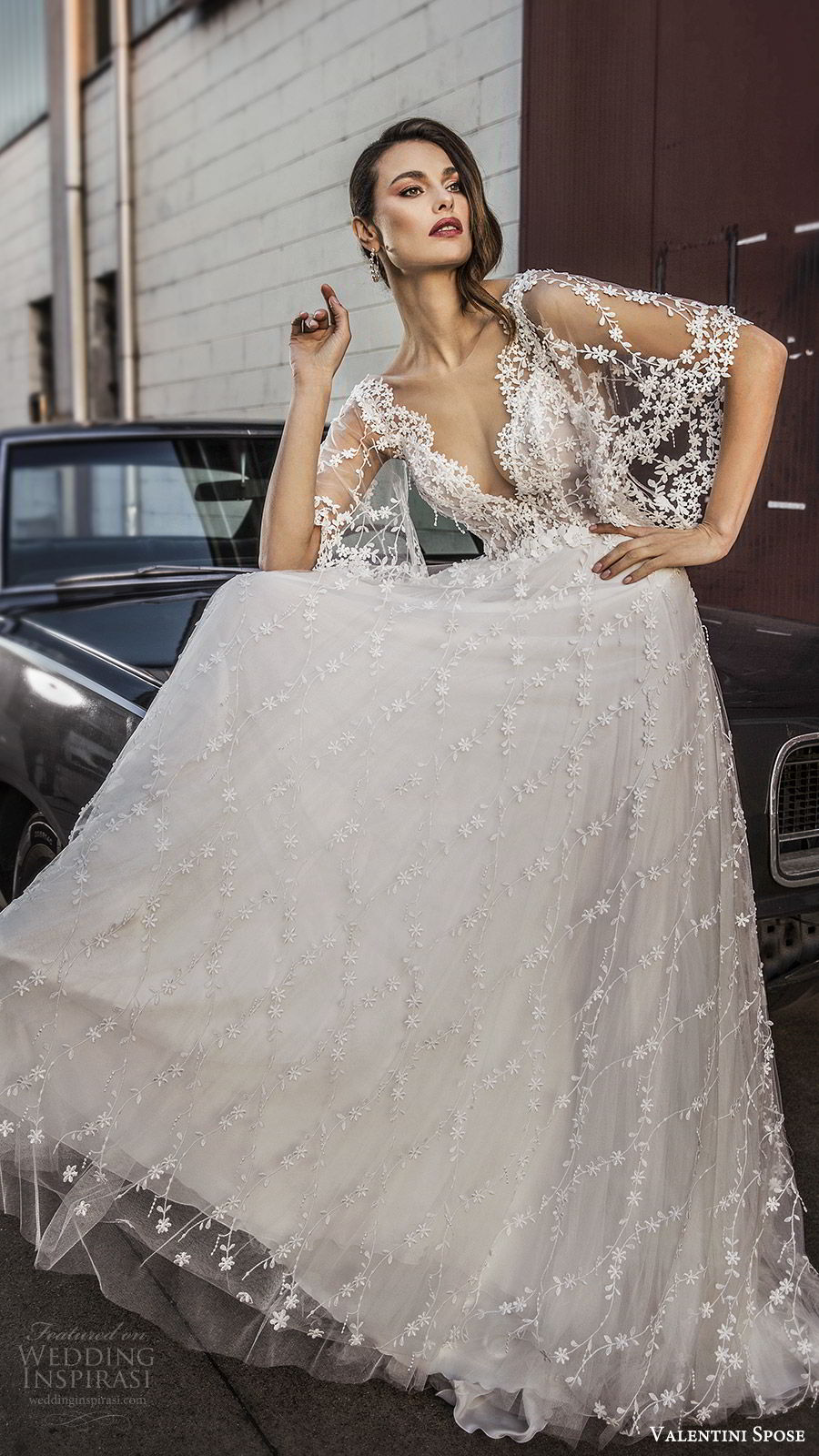 valentini spose spring 2020 bridal sheer flutter sleeves v neck fully embroidered lace a line ball gown wedding dress (1) romantic boho mv