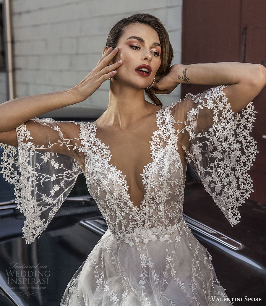 5e147263e9281 valentini spose spring 2020 bridal sheer flutter sleeves v neck fully  embroidered lace a line ball