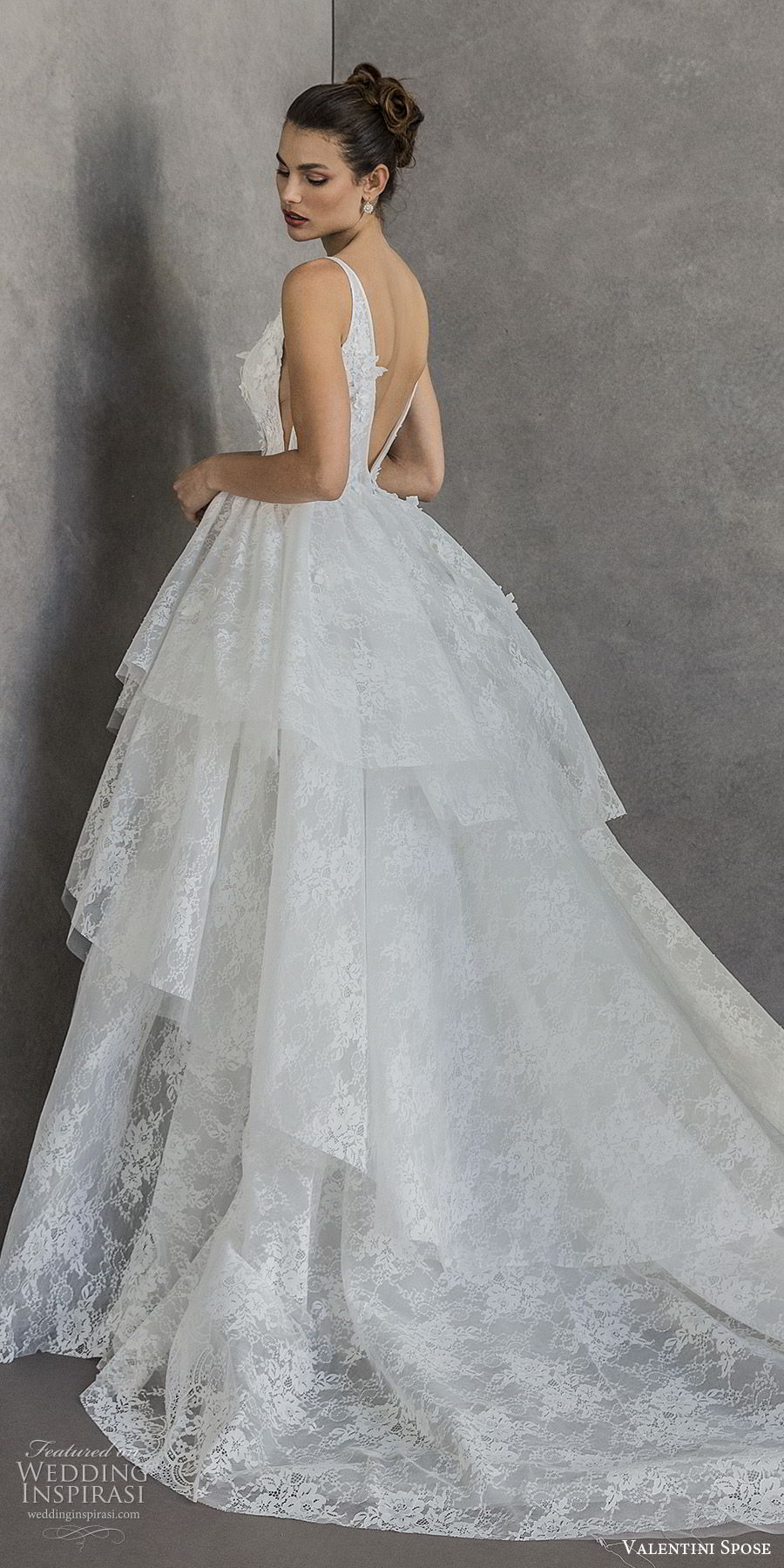 valentini spose spring 2020 bridal sleeveless deep v neckline embellished bodice lace a line ball gown wedding dress (8) tiered skirt romantic princess cathedral train bv