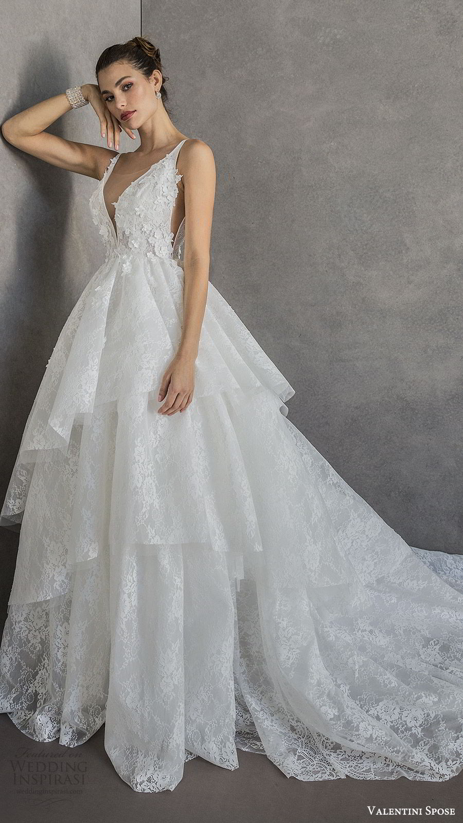 valentini spose spring 2020 bridal sleeveless deep v neckline embellished bodice lace a line ball gown wedding dress (8) tiered skirt romantic princess mv