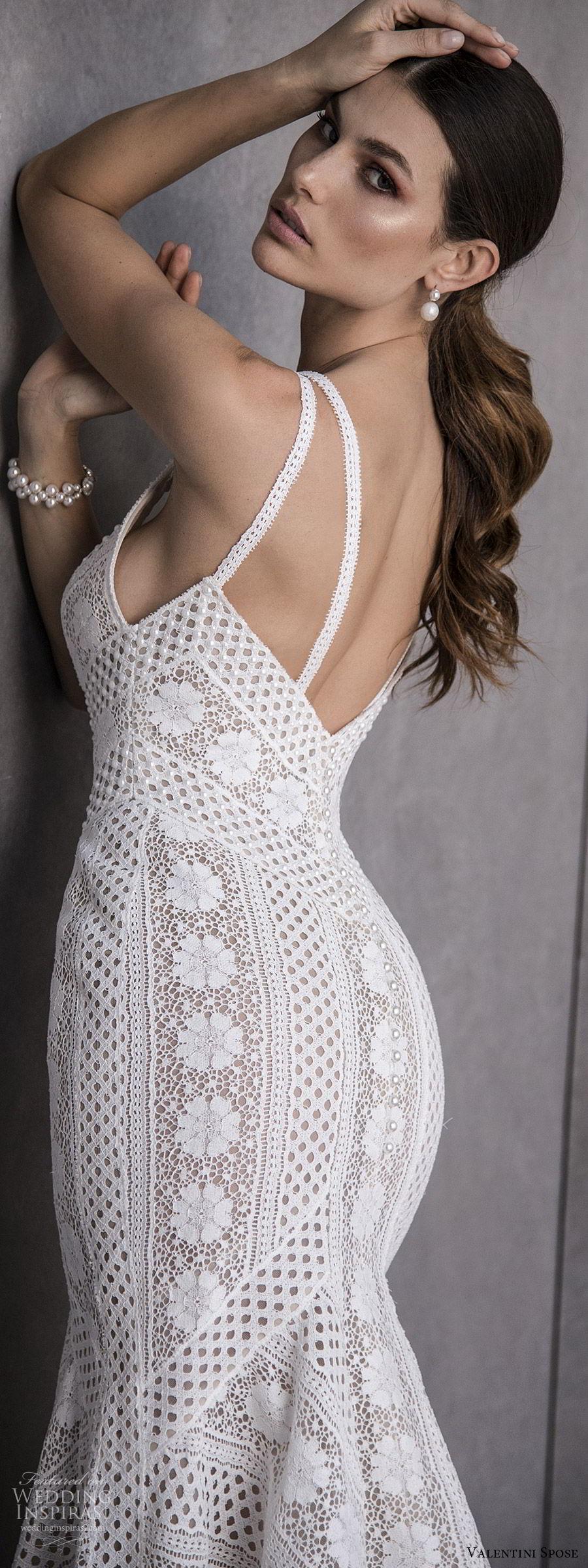 valentini spose spring 2020 bridal sleeveless double straps v neckline lace fit flare mermaid sheath wedding dress (14) boho chic romantic bv