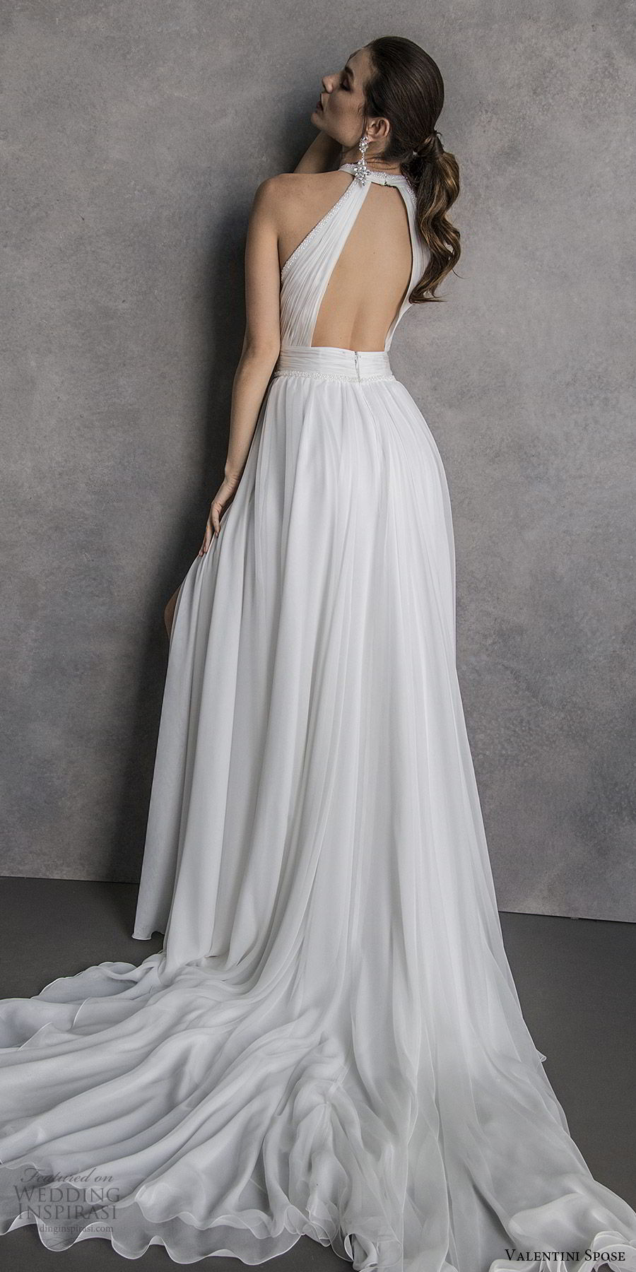 valentini spose spring 2020 bridal sleeveless halter neck cutout ruched bodice double slit skirt soft a line wedding dress (19) bv