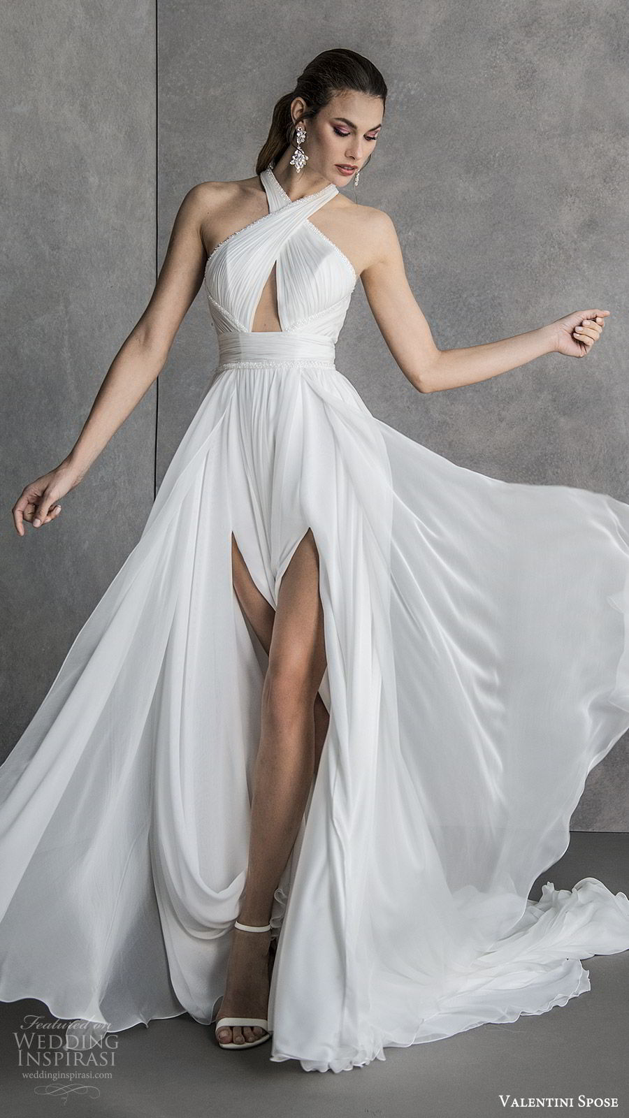 valentini spose spring 2020 bridal sleeveless halter neck cutout ruched bodice double slit skirt soft a line wedding dress (19) mv