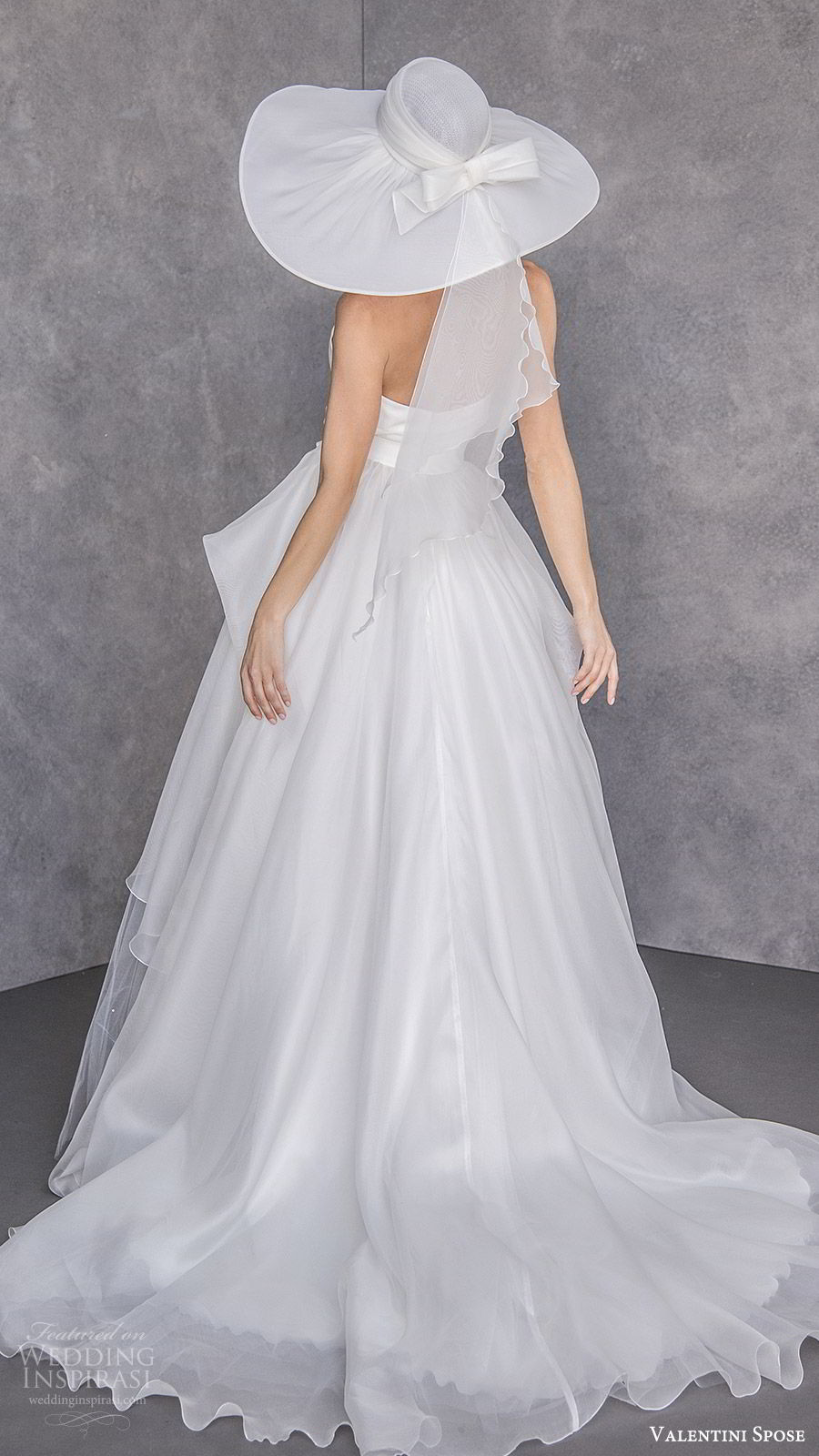 valentini spose spring 2020 bridal sleeveless halter neck deep v neckline a line ball gown wedding dress (23) tiered skirt elegant chic hat chapel train bv