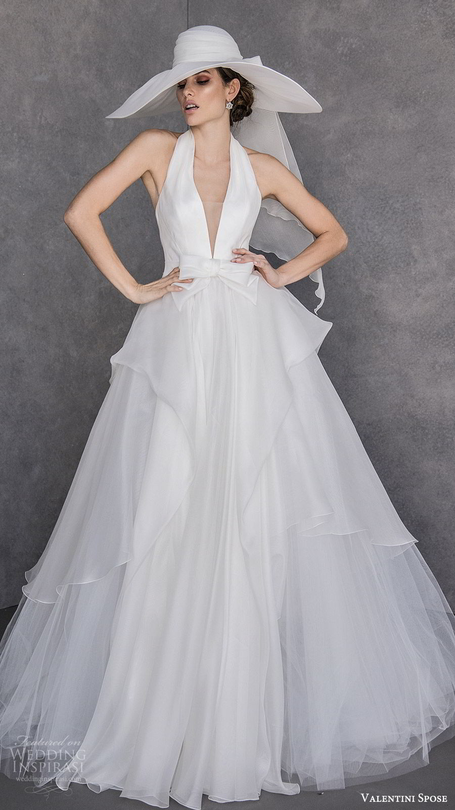 valentini spose spring 2020 bridal sleeveless halter neck deep v neckline a line ball gown wedding dress (23) tiered skirt elegant chic hat chapel train mv