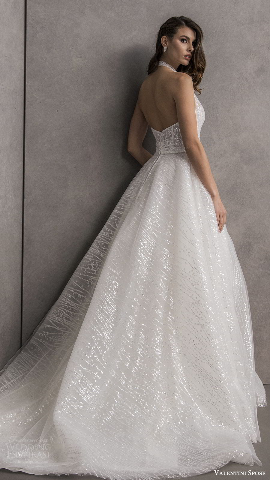 valentini spose spring 2020 bridal sleeveless halter neck deep v neckline fully embellished a line ball gown wedding dress (13) chapel train glitzy romantic glam bv