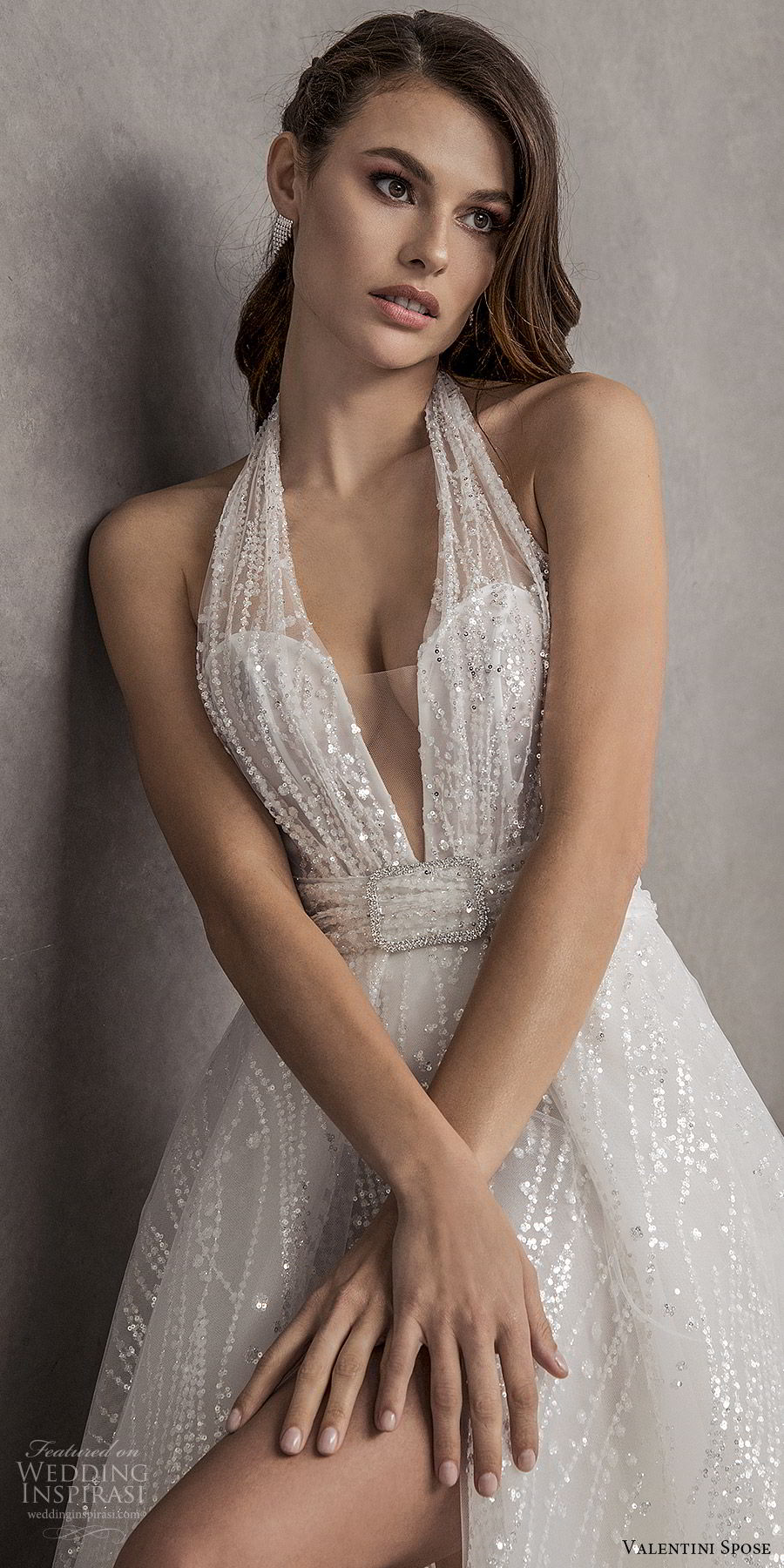 valentini spose spring 2020 bridal sleeveless halter neck deep v neckline fully embellished a line ball gown wedding dress (13) chapel train glitzy romantic glam mv