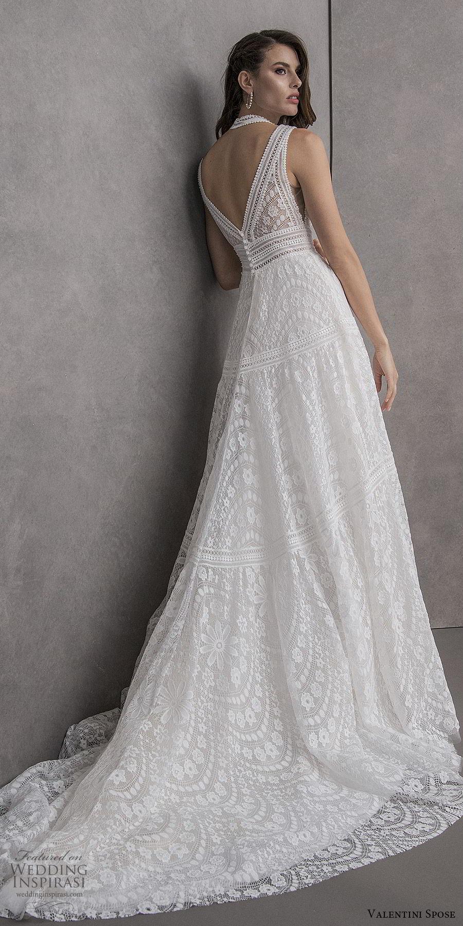 valentini spose spring 2020 bridal sleeveless halter neckline deep v neck fully embellished lace a line wedding dress (12) romantic boho chic chapel train keyhole back bv