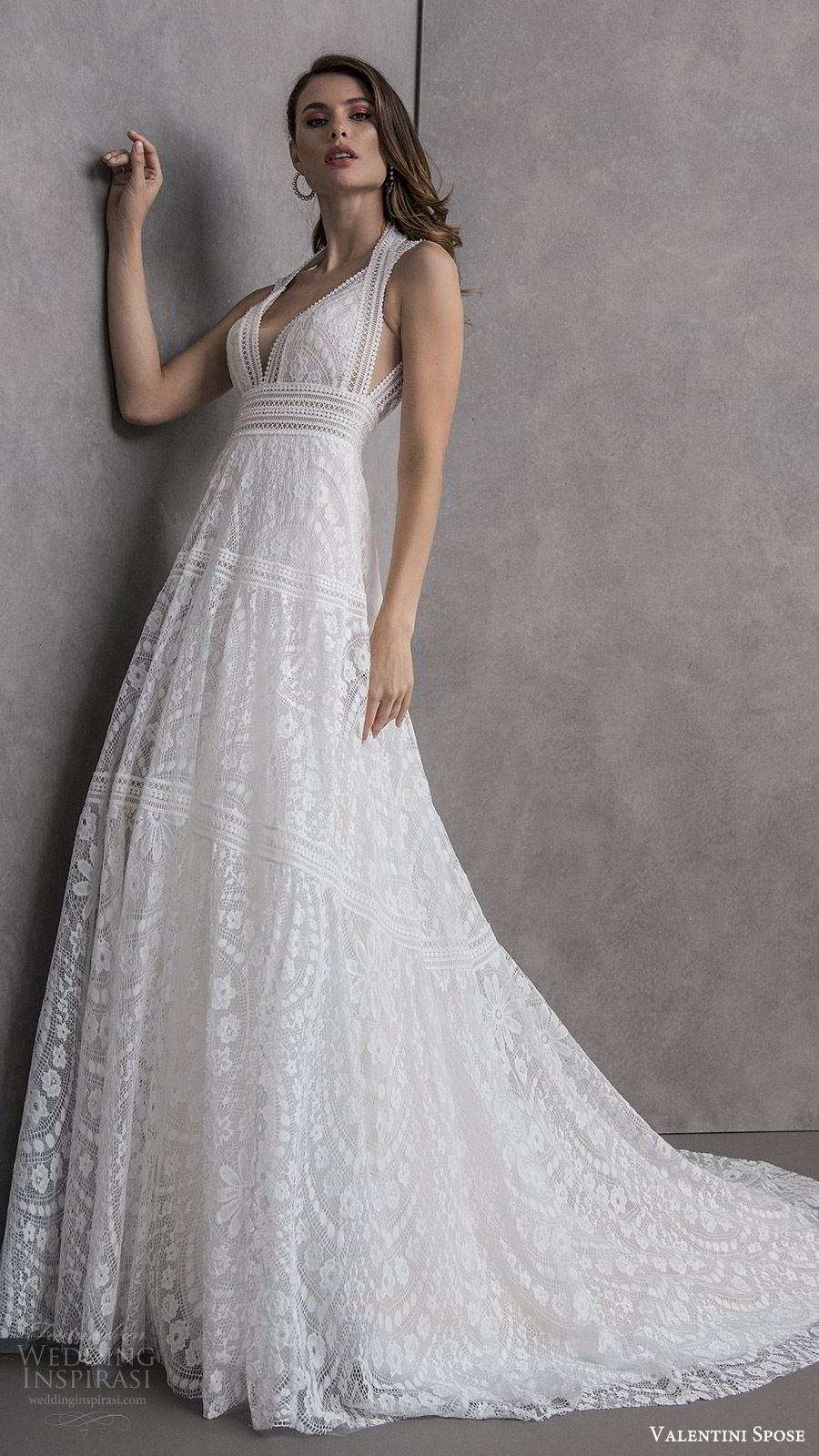 valentini spose spring 2020 bridal sleeveless halter neckline deep v neck fully embellished lace a line wedding dress (12) romantic boho chic chapel train keyhole back mv