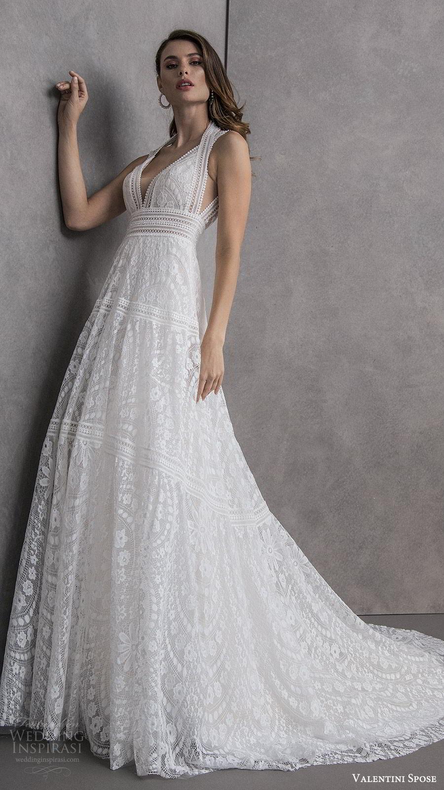 valentini spose spring 2020 bridal sleeveless halter neckline deep v neck fully embellished lace a line wedding dress (12) romantic boho chic chapel train keyhole back mv