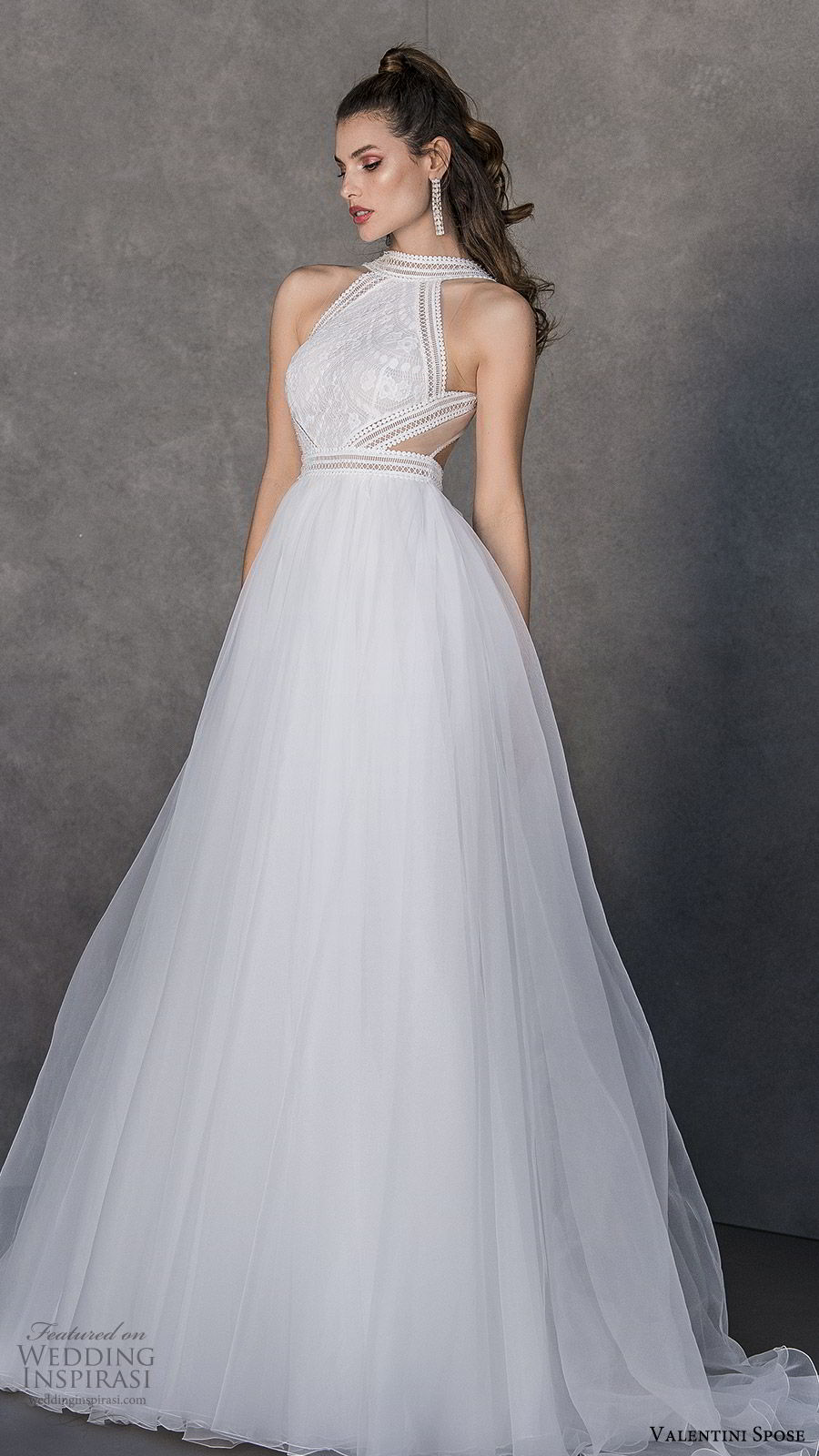 valentini spose spring 2020 bridal sleeveless halter neckline lace bodice a line ball gown wedding dress (10) cutout back chapel trrain modern romantic mv