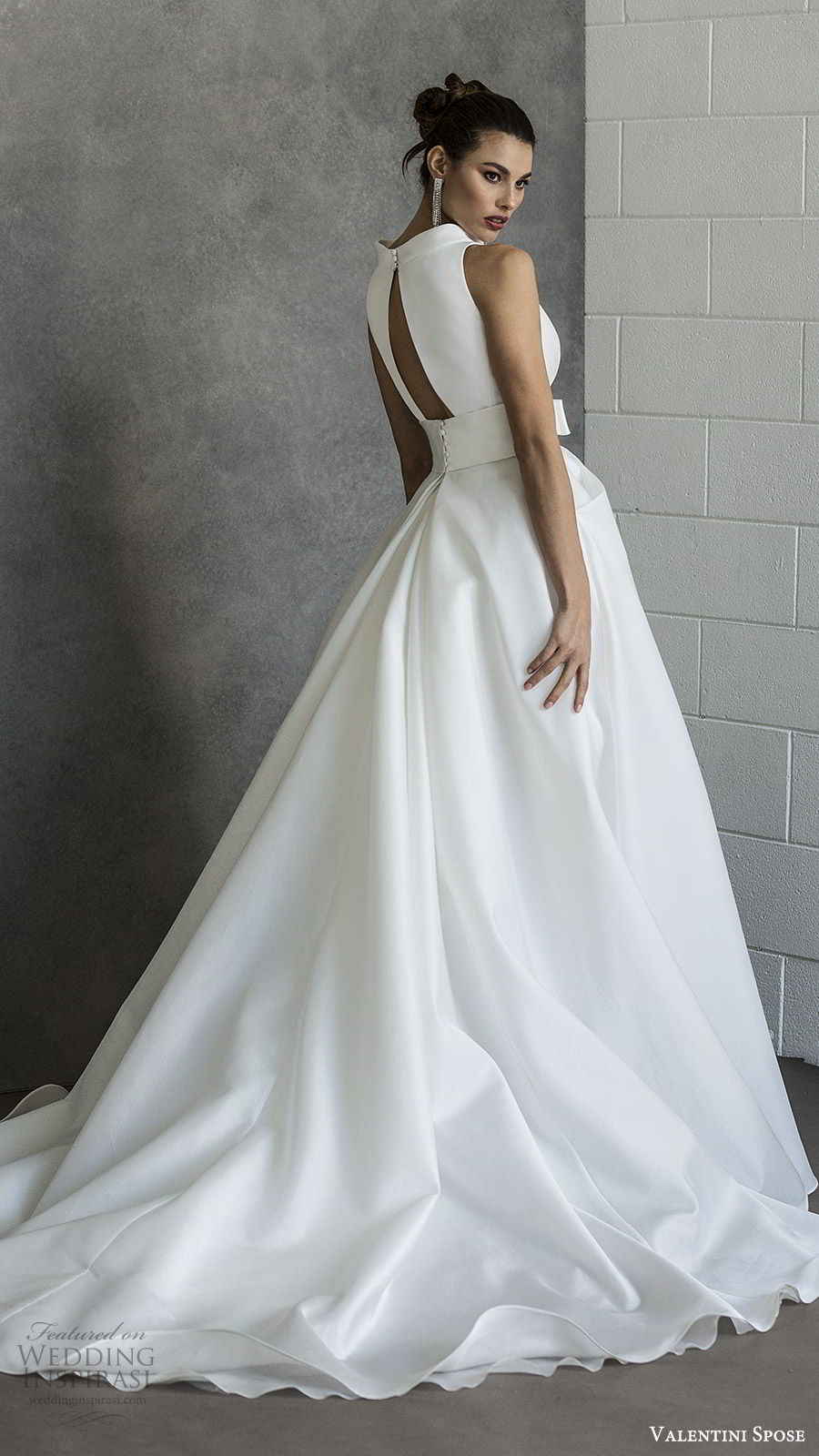 valentini spose spring 2020 bridal sleeveless split funnel neck a line ball gown wedding dress (16) pocket bow waist minimal modern chapel train bv