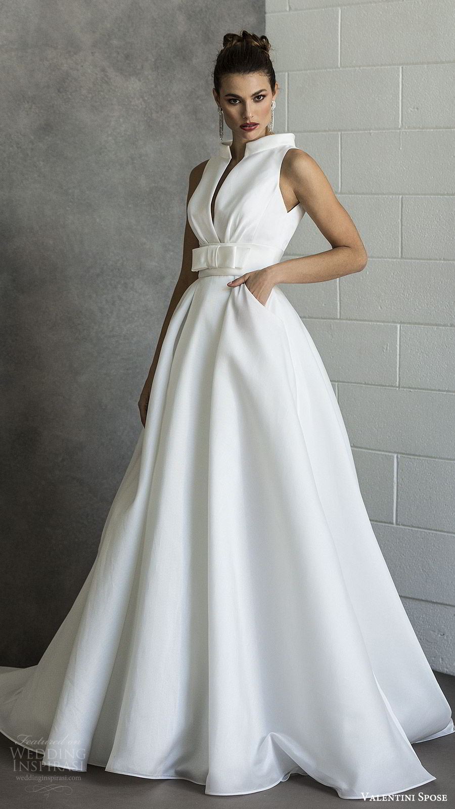 valentini spose spring 2020 bridal sleeveless split funnel neck a line ball gown wedding dress (16) pocket bow waist minimal modern chapel train mv
