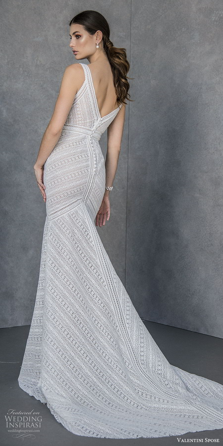 valentini spose spring 2020 bridal sleeveless thick straps deep v neckline fit flare mermaid wedding dress (5) v back chapel train modern boho chic bv