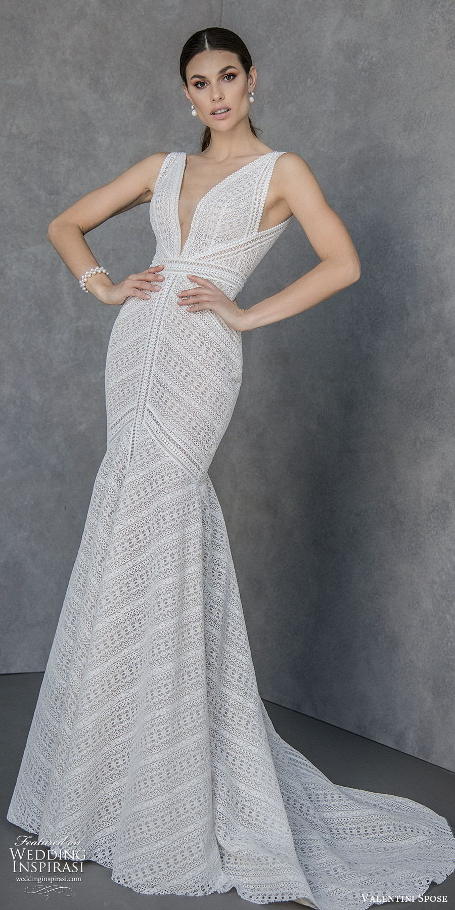 valentini spose spring 2020 bridal sleeveless thick straps deep v neckline fit flare mermaid wedding dress (5) v back chapel train modern boho chic mv