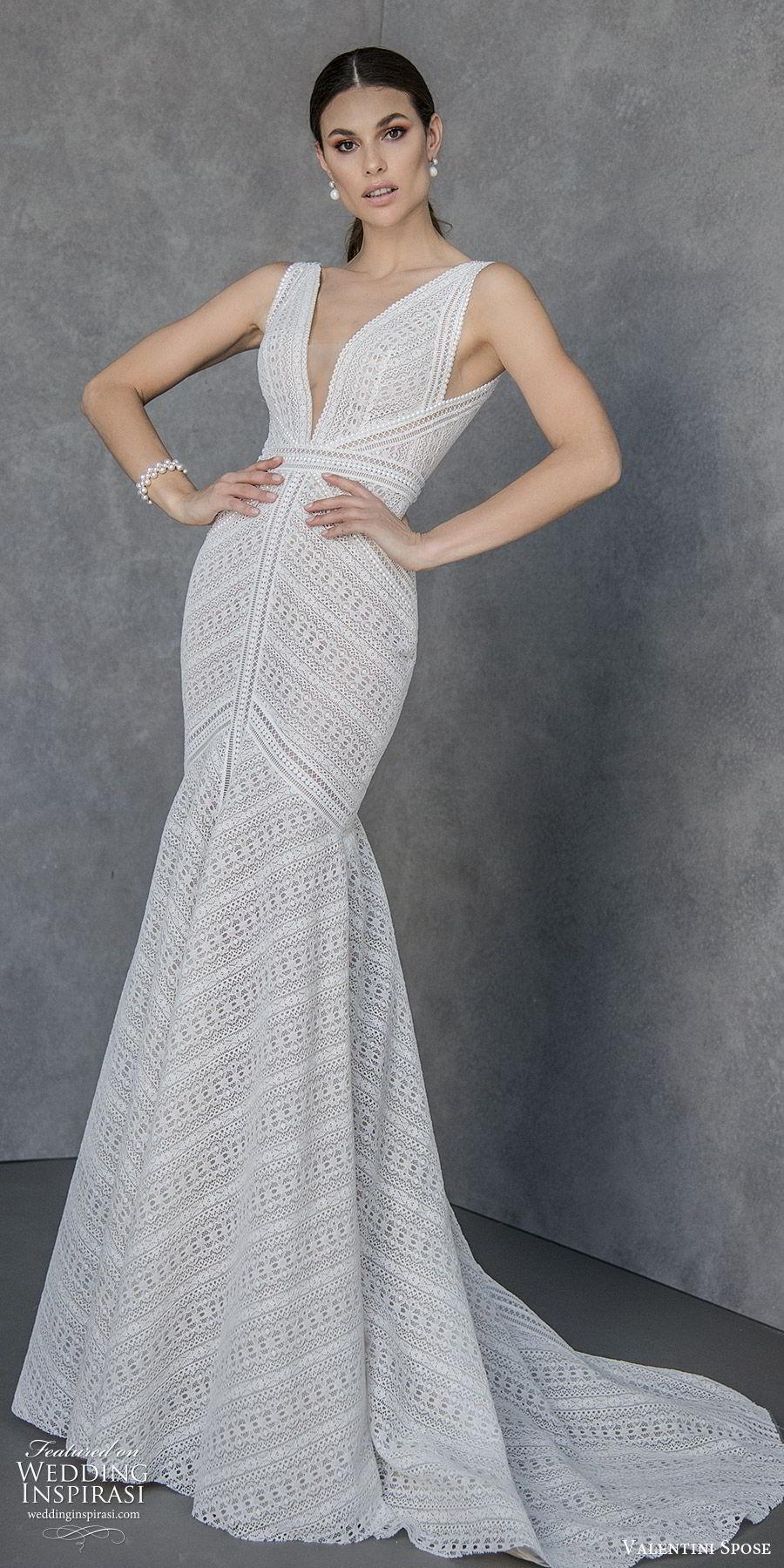 valentini spose spring 2020 bridal sleeveless thick straps deep v neckline fit flare mermaid wedding dress (5) v back chapel train modern boho chic mv