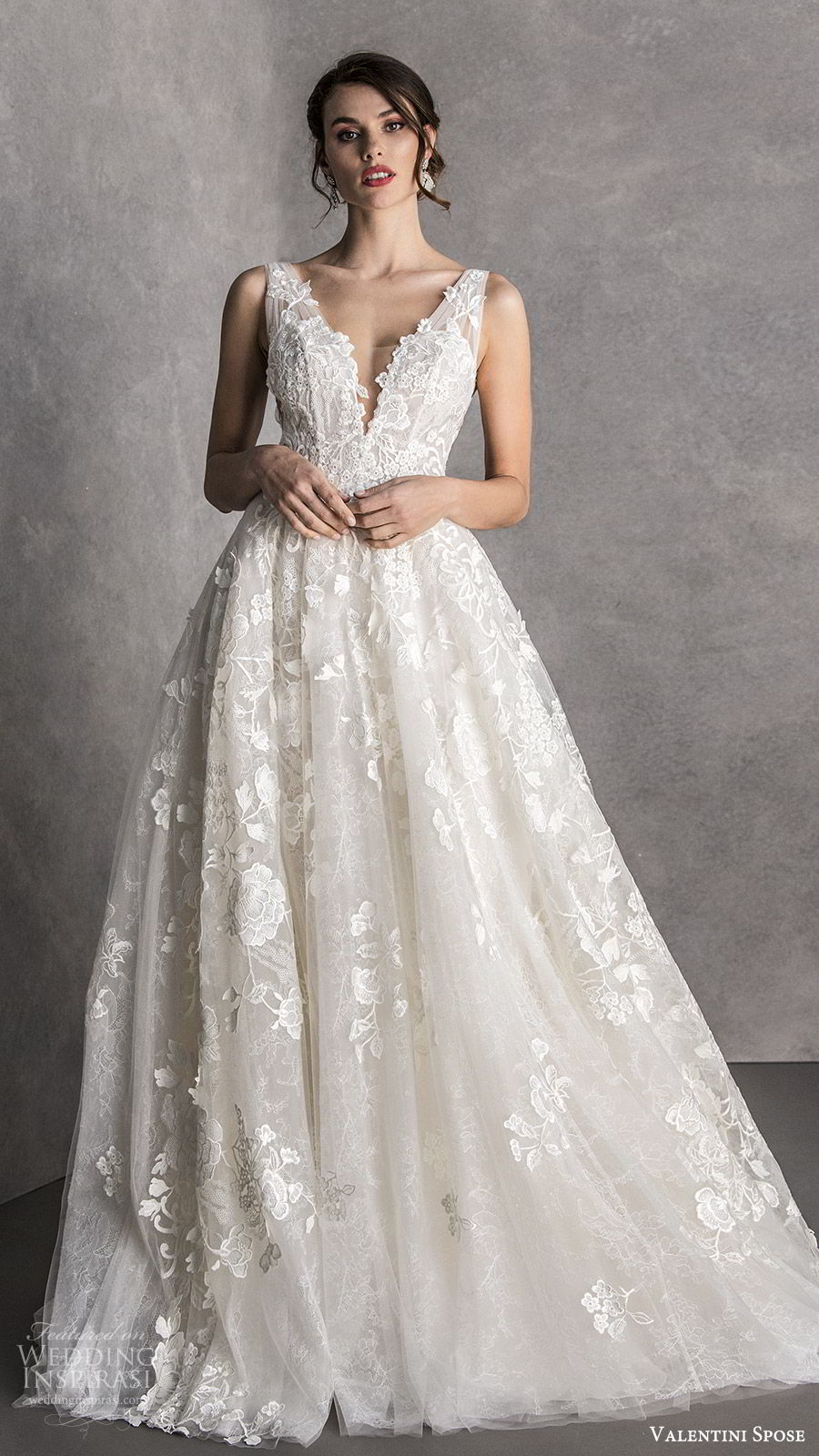 valentini spose spring 2020 bridal sleeveless thick straps deep v neckline fully embellished a line ball gown wedding dress (6) romantic princess mv