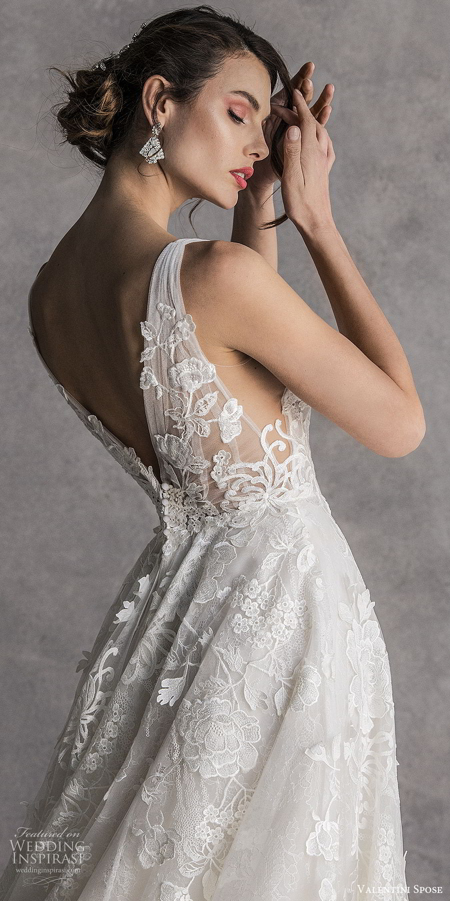 valentini spose spring 2020 bridal sleeveless thick straps deep v neckline fully embellished a line ball gown wedding dress (6) romantic princess zbv