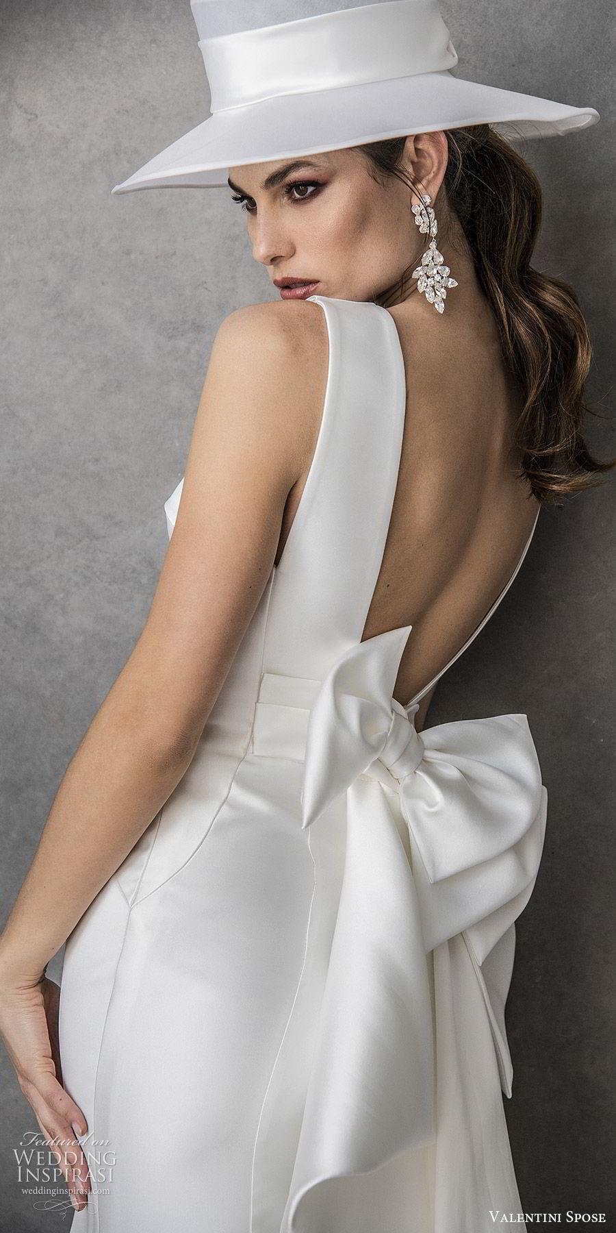 valentini spose spring 2020 bridal sleeveless thick straps v neckline sheath wedding dress (21) minimal clean chic hat low back bow mv