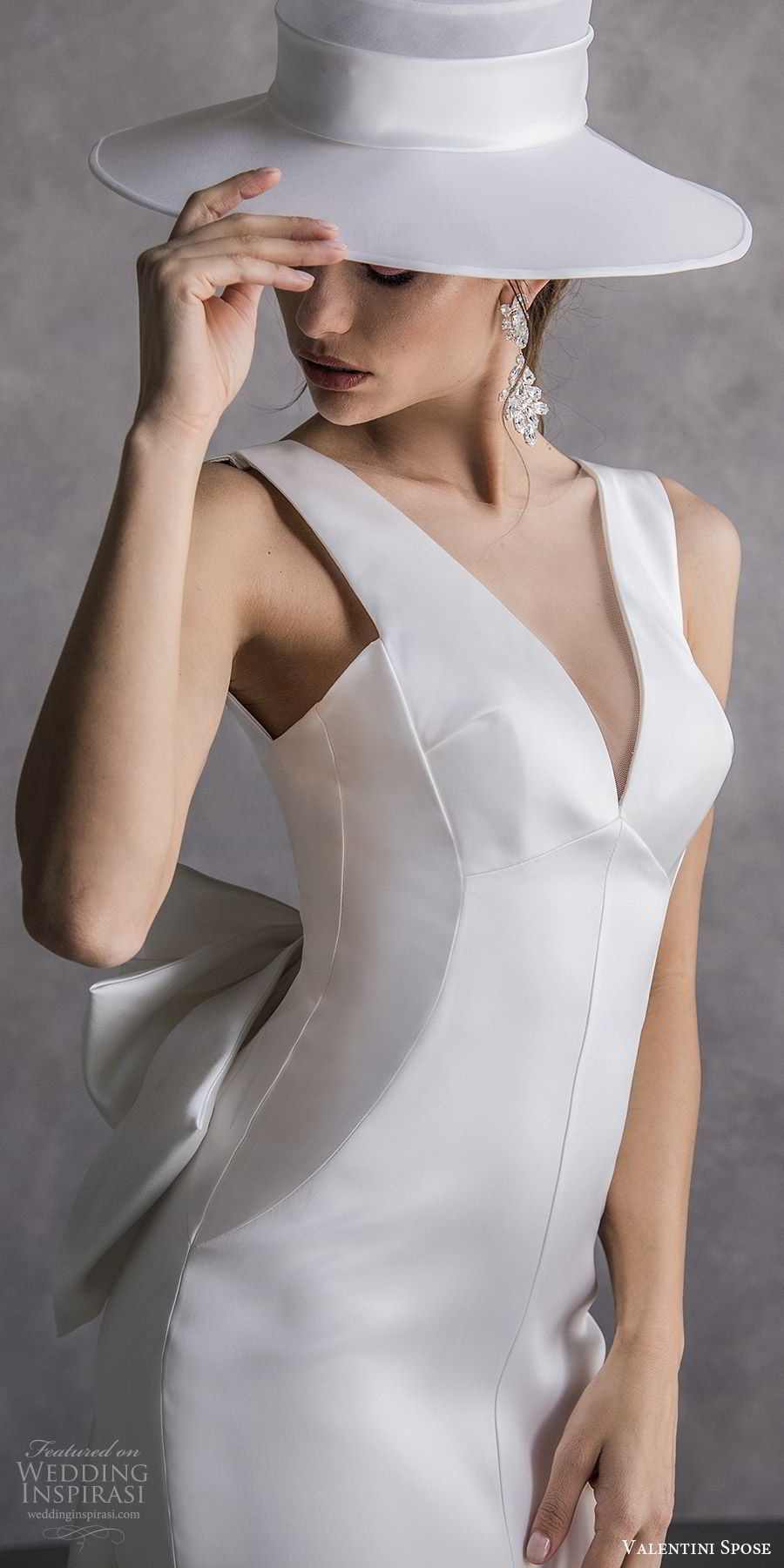 valentini spose spring 2020 bridal sleeveless thick straps v neckline sheath wedding dress (21) minimal clean chic hat mv