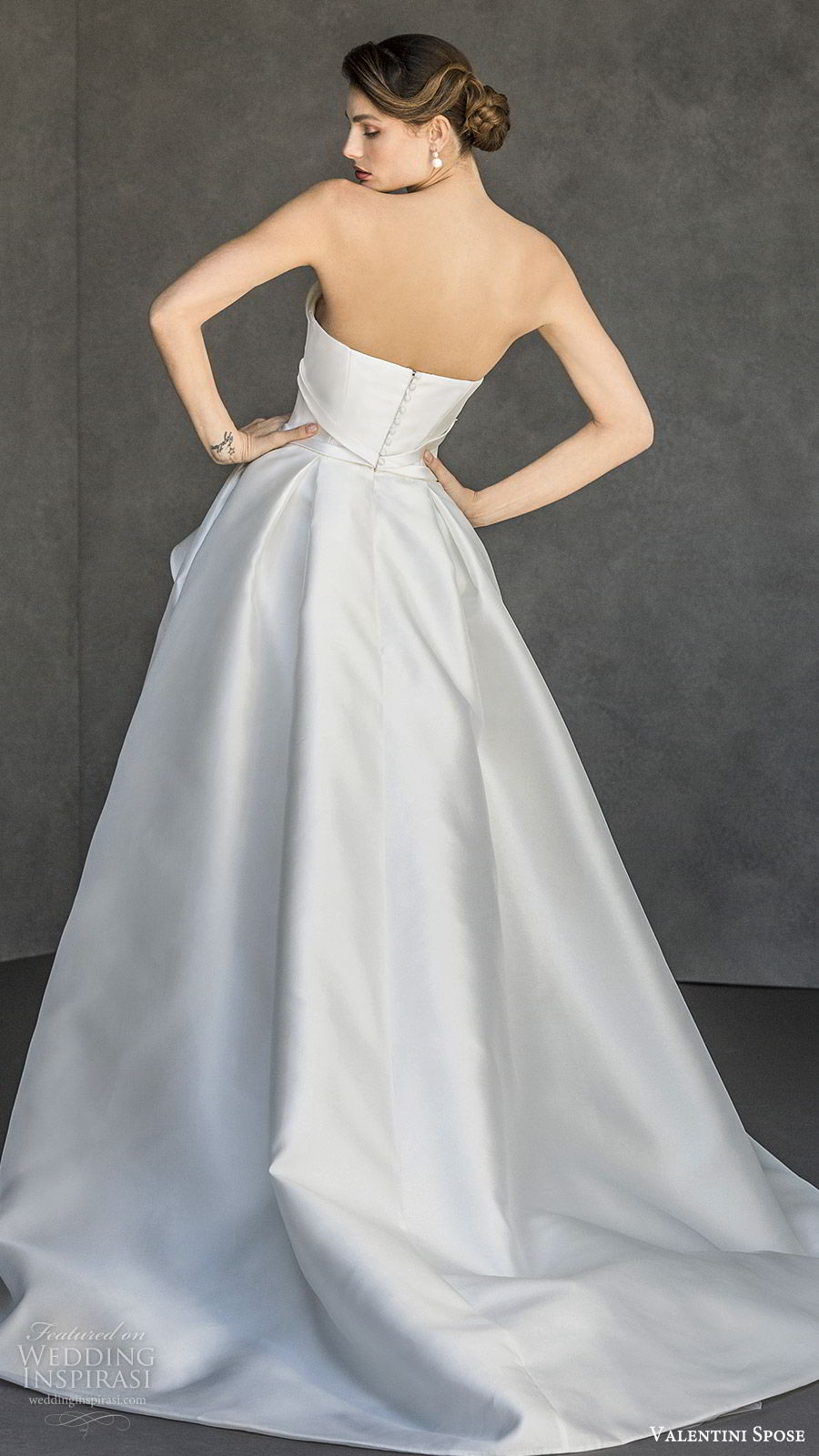 valentini spose spring 2020 bridal strapless asymmetric neckline high low skirt a line wedding dress (2) bow waist modern clean minimalist bv