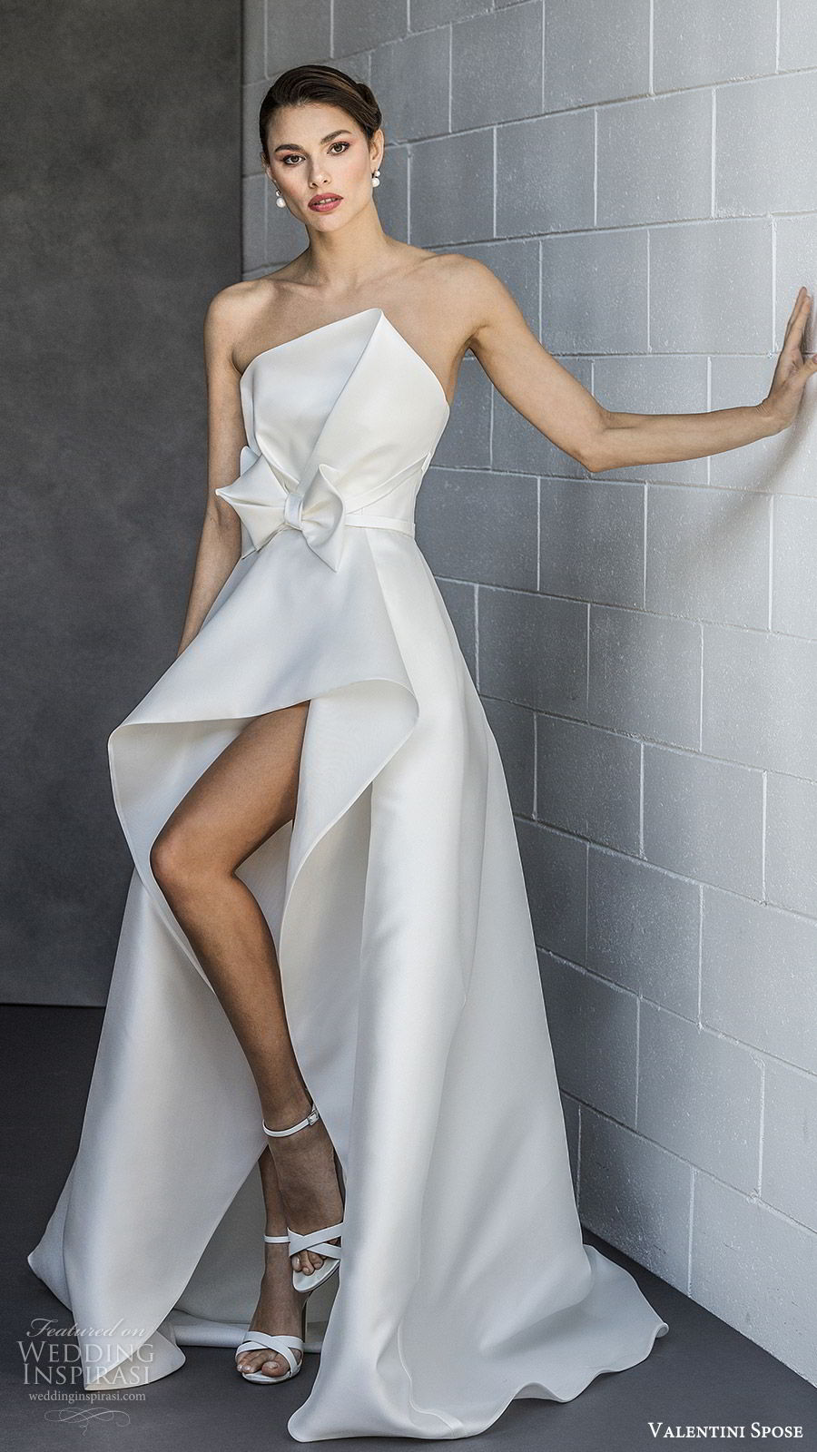 valentini spose spring 2020 bridal strapless asymmetric neckline high low skirt a line wedding dress (2) bow waist modern clean minimalist mv