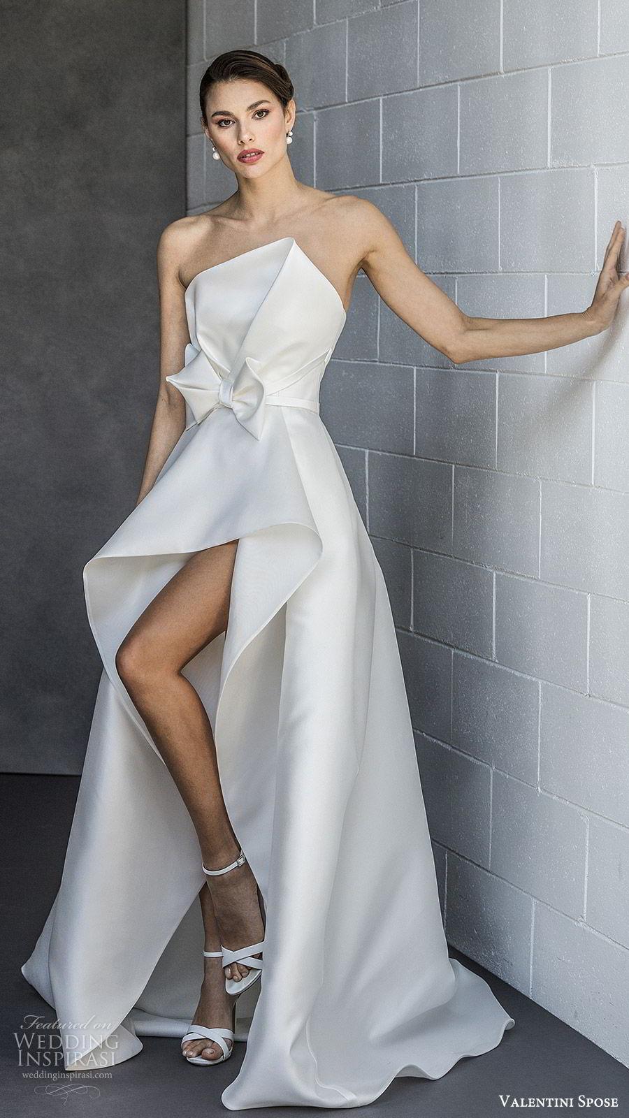 valentini spose spring 2020 bridal strapless asymmetric neckline high low skirt a line wedding dress (2) bow waist modern clean minimalist mv