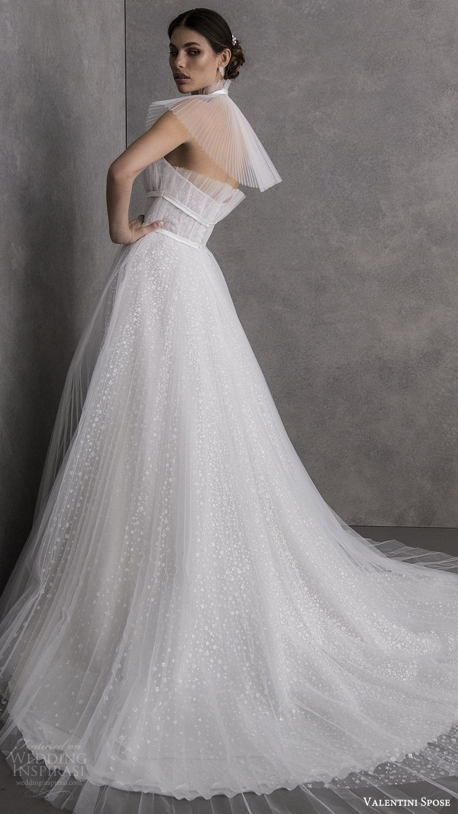 valentini spose spring 2020 bridal strapless straight across crumbcatcher ruched bodice fully embellished a line ball gown wedding dress (11) chapel train sheer capelet modern romantic bv