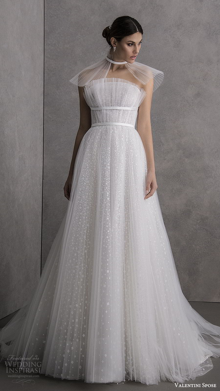 valentini spose spring 2020 bridal strapless straight across crumbcatcher ruched bodice fully embellished a line ball gown wedding dress (11) chapel train sheer capelet modern romantic mv
