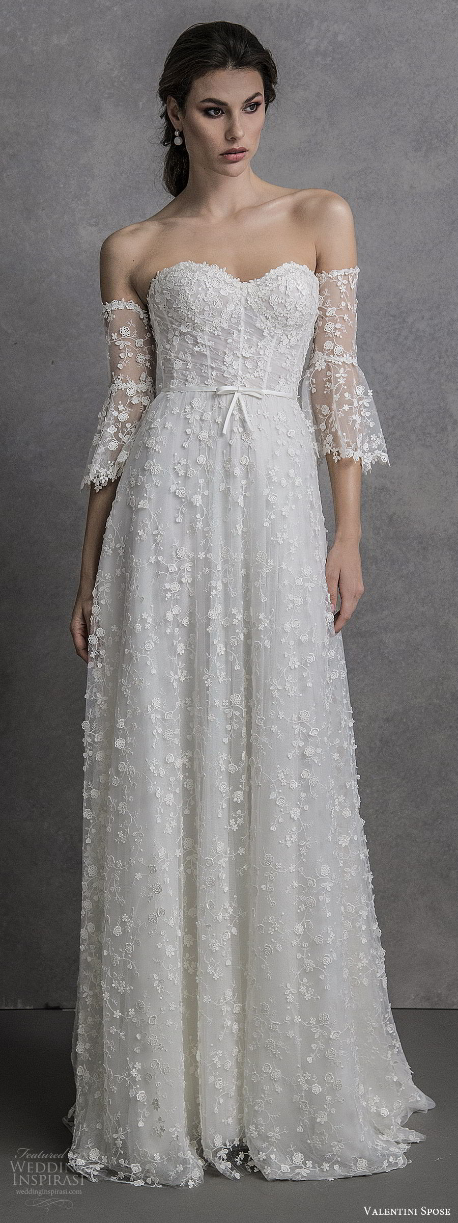 valentini spose spring 2020 bridal strapless sweetheart detached illusion bell half sleeves fully embellished soft a line wedding dress (9) sweep train boho chic romantic mv