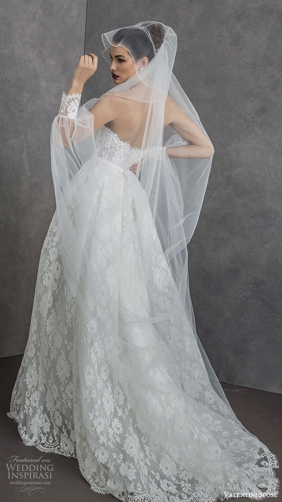 valentini spose spring 2020 bridal strapless sweetheart fully lace a line ball gown wedding dress (4) sheer long sleeve jacket modern romantic sweep train bv
