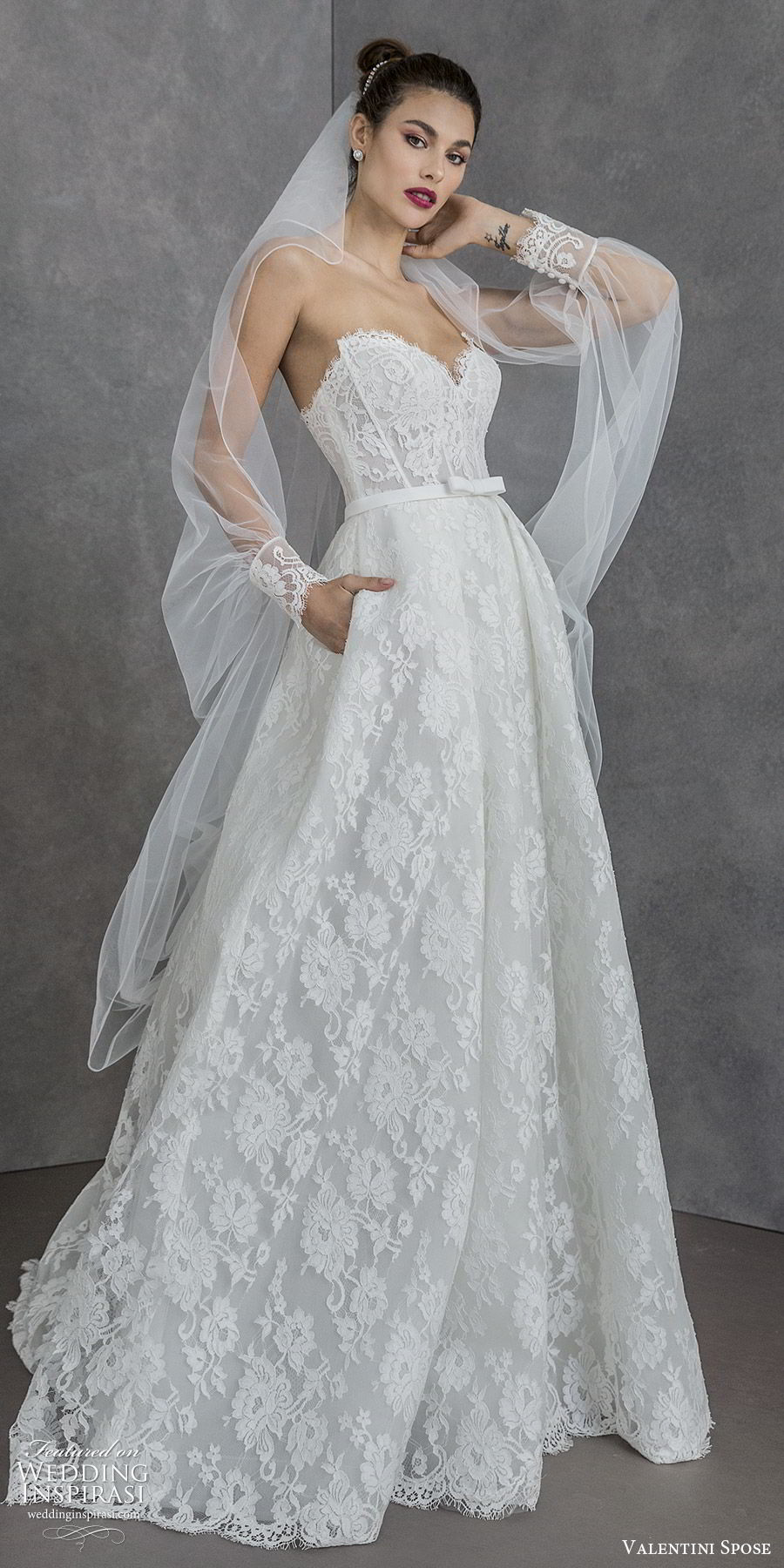 valentini spose spring 2020 bridal strapless sweetheart fully lace a line ball gown wedding dress (4) sheer long sleeve jacket modern romantic sweep train mv