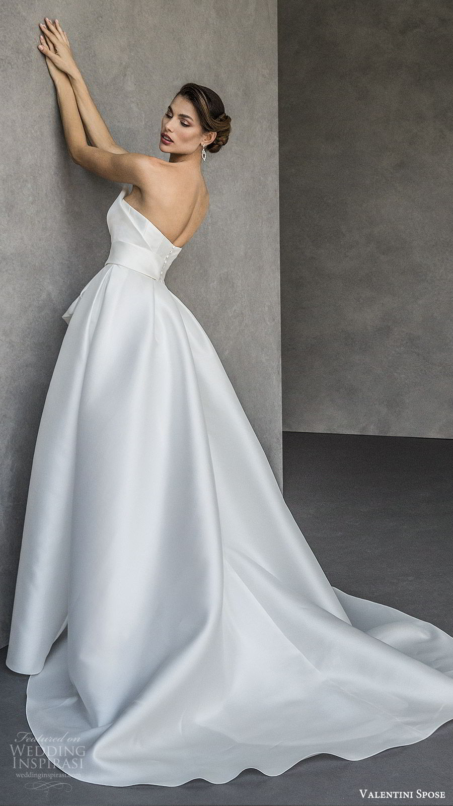 valentini spose spring 2020 bridal strapless sweetheart neckline slit skirt a line ball gown wedding dress (20) elegant modern chapel train bv