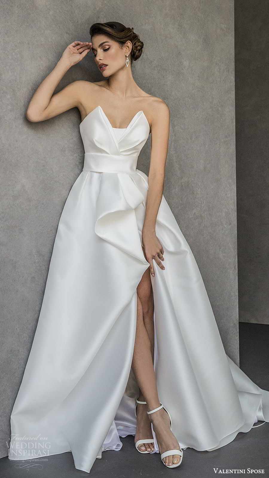 valentini spose spring 2020 bridal strapless sweetheart neckline slit skirt a line ball gown wedding dress (20) elegant modern chapel train mv