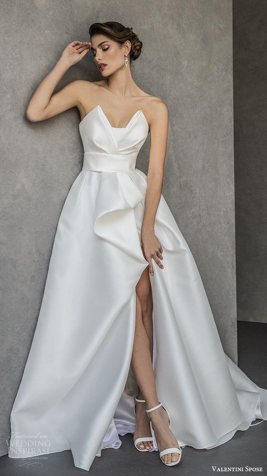 valentini spose spring 2020 bridal strapless sweetheart neckline slit skirt a line ball gown wedding dress (20) elegant modern chapel train mv