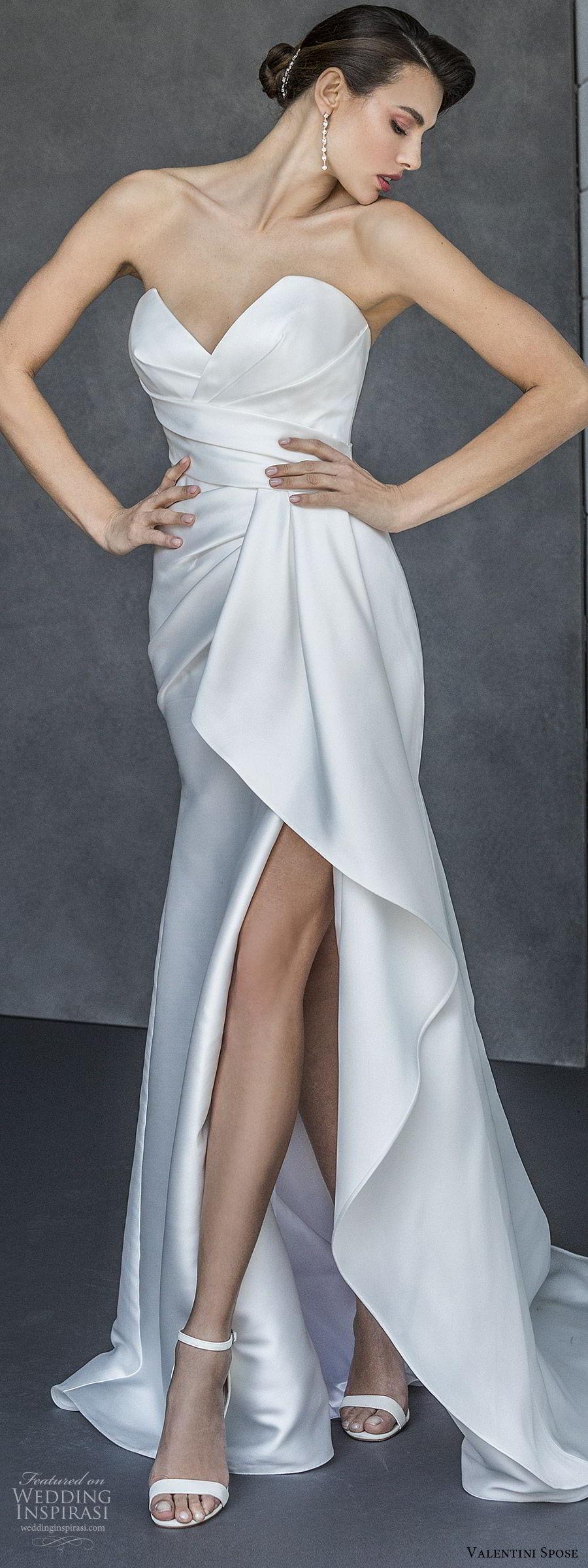 valentini spose spring 2020 bridal strapless sweetheart ruched bodice slit skirt fit flare wedding dress (17) elegant modern minimal chapel train mv
