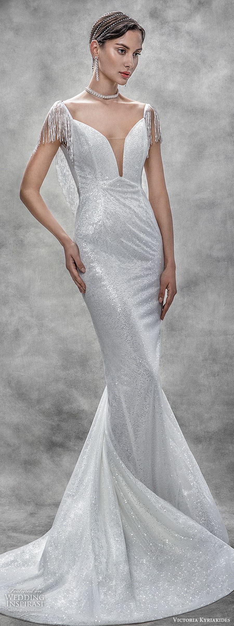 victoria kyriakides spring 2020 bridal beaded fringe short sleeves split sweetheart neckline sheath wedding dress (17) chapel train glitzy glam vintage mv